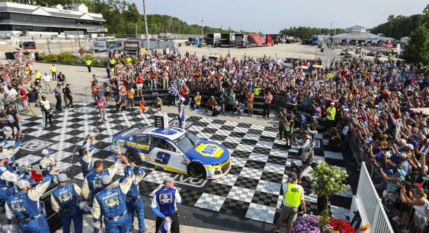 ELKHART LAKE, WISCONSIN - JULY 04: Chase Elliott, driver of the #9 NAPA Auto Parts Chevrolet, celebrates in victory lane after winning the NASCAR Cup Series Jockey Made in America 250 Presented by Kwik Trip at Road America on July 04, 2021 in Elkhart Lake, Wisconsin. (Photo by James Gilbert/Getty Images)   Getty Images