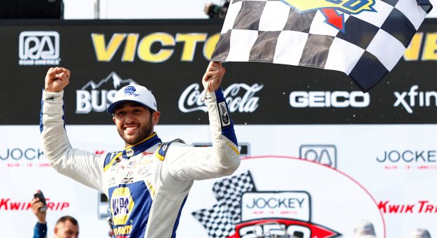 ELKHART LAKE, WISCONSIN - JULY 04: Chase Elliott, driver of the #9 NAPA Auto Parts Chevrolet, celebrates in victory lane after winning the NASCAR Cup Series Jockey Made in America 250 Presented by Kwik Trip at Road America on July 04, 2021 in Elkhart Lake, Wisconsin. (Photo by Jared C. Tilton/Getty Images)   Getty Images