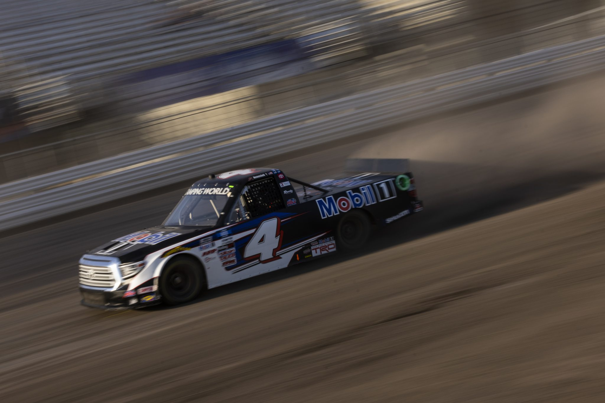 KNOXVILLE, IOWA - JULY 08: John Hunter Nemechek, driver of the #4 Mobil 1 Toyota, drives during practice for the NASCAR Camping World Truck Series Corn Belt 150 presented by Premier Chevy Dealers at Knoxville Raceway on July 08, 2021 in Knoxville, Iowa. (Photo by James Gilbert/Getty Images) | Getty Images