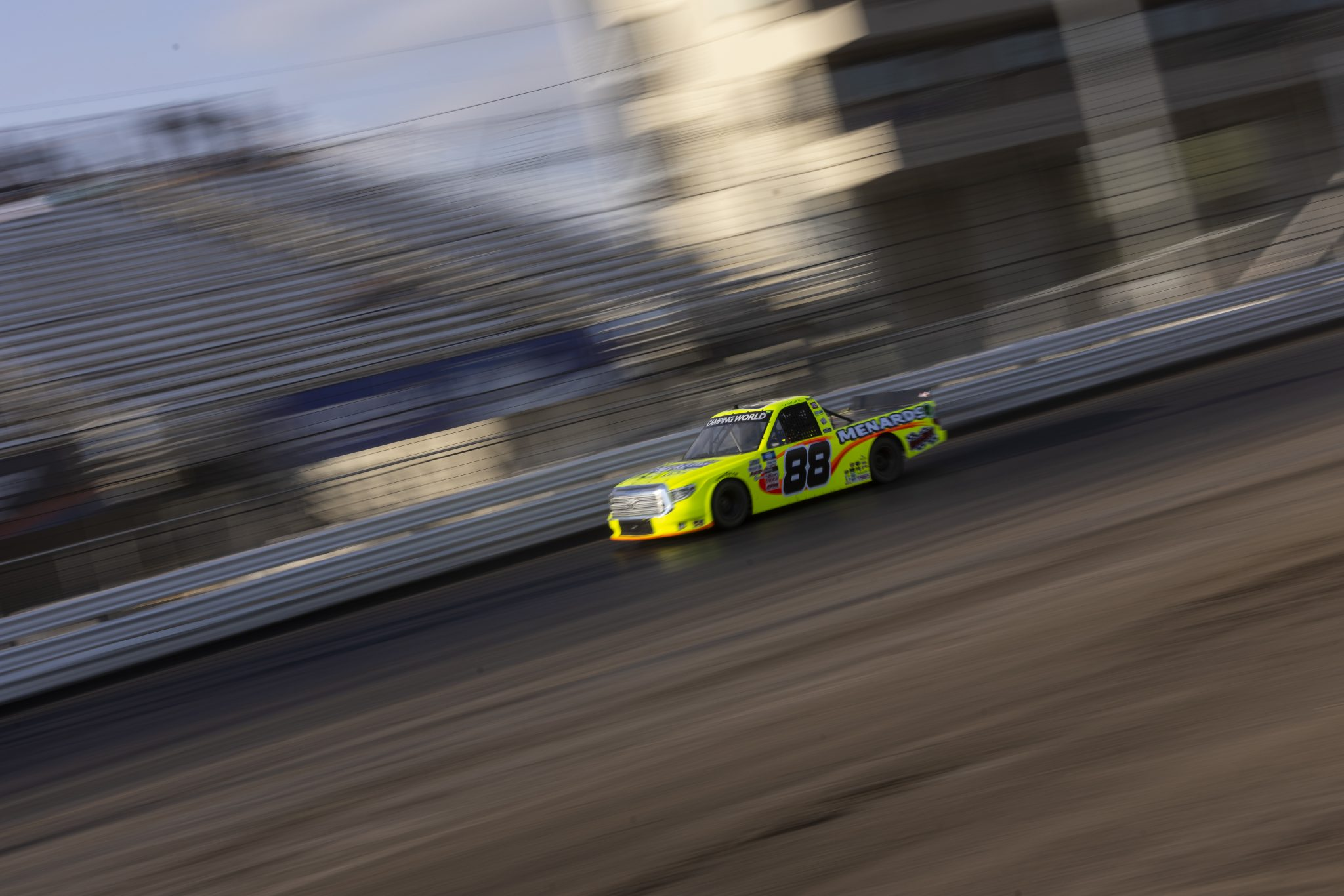 KNOXVILLE, IOWA - JULY 08: Matt Crafton, driver of the #88 Ideal Door/Menards Toyota, drives during practice for the NASCAR Camping World Truck Series Corn Belt 150 presented by Premier Chevy Dealers at Knoxville Raceway on July 08, 2021 in Knoxville, Iowa. (Photo by James Gilbert/Getty Images) | Getty Images