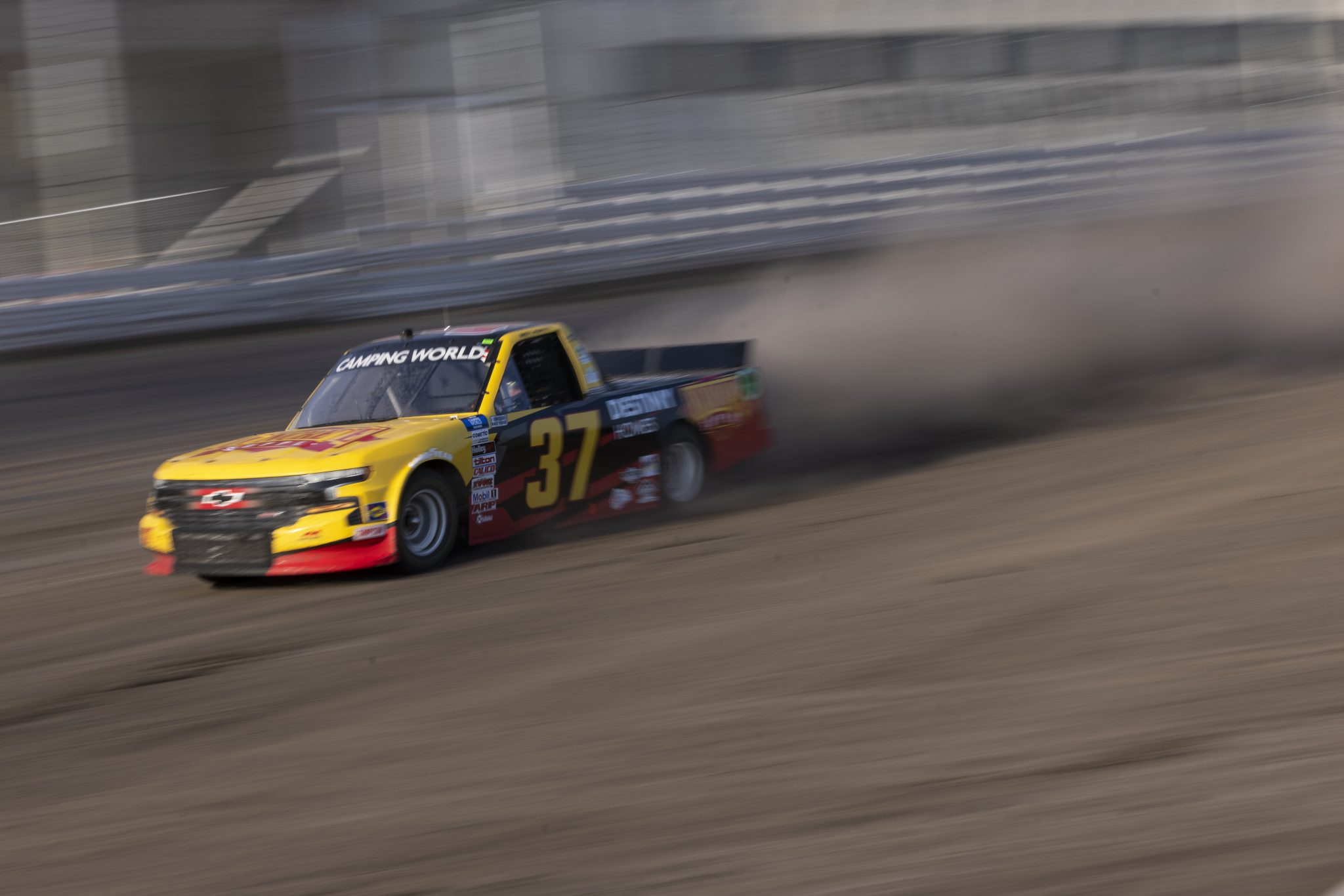 KNOXVILLE, IOWA - JULY 08: Brett Moffitt, driver of the #37 Concrete Supply/Destiny Homes Chevrolet, drives during practice for the NASCAR Camping World Truck Series Corn Belt 150 presented by Premier Chevy Dealers at Knoxville Raceway on July 08, 2021 in Knoxville, Iowa. (Photo by James Gilbert/Getty Images) | Getty Images