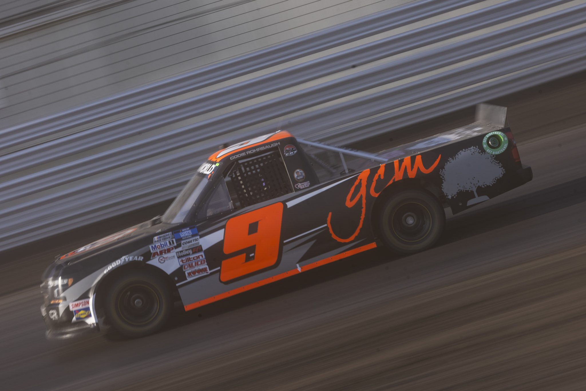 KNOXVILLE, IOWA - JULY 08: Codie Rohrbaugh, driver of the #9 Grant County Mulch Chevrolet, drives during practice for the NASCAR Camping World Truck Series Corn Belt 150 presented by Premier Chevy Dealers at Knoxville Raceway on July 08, 2021 in Knoxville, Iowa. (Photo by James Gilbert/Getty Images) | Getty Images
