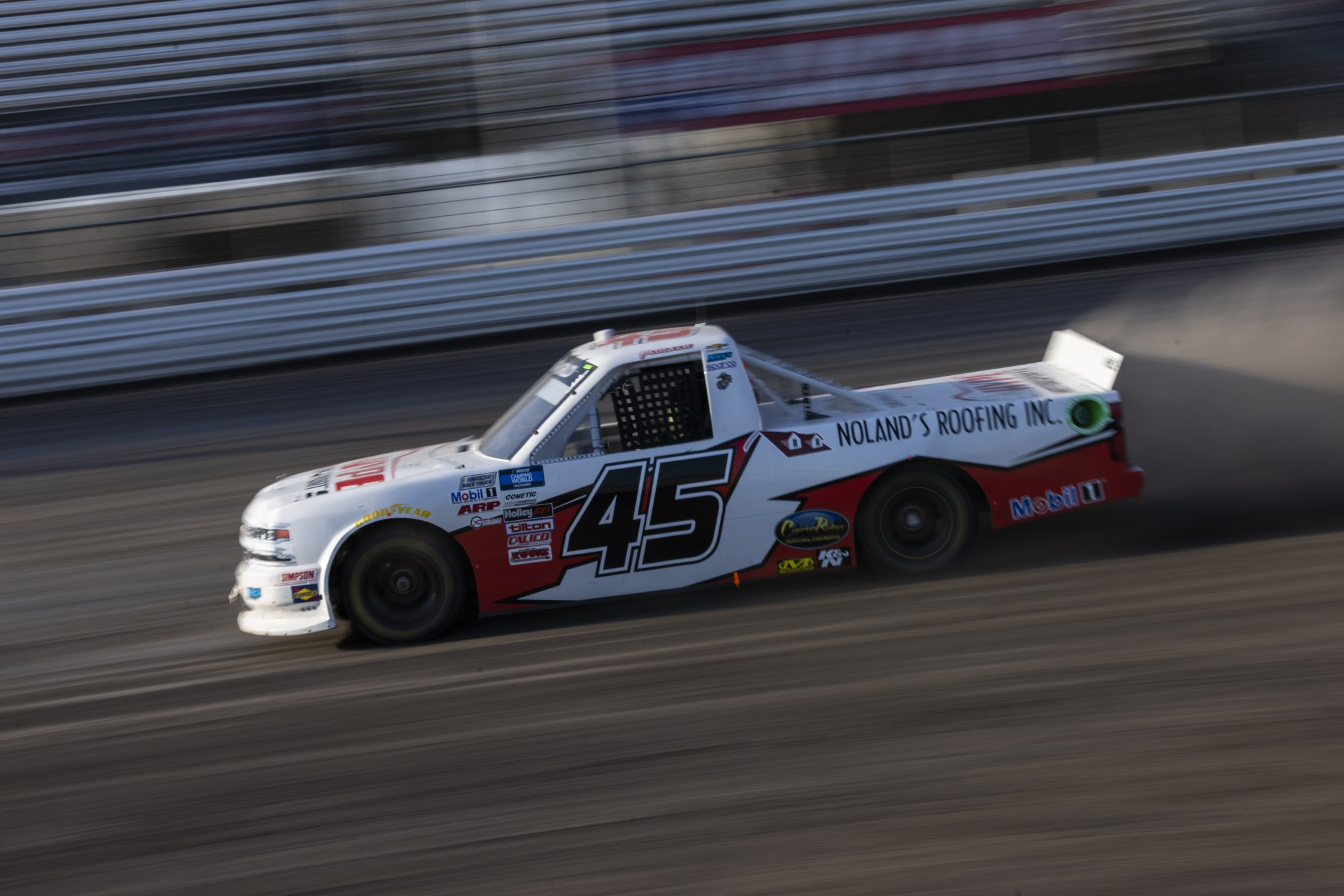 KNOXVILLE, IOWA - JULY 08: Jett Noland, driver of the #45 Hype Motorsports Chevrolet, drives during practice for the NASCAR Camping World Truck Series Corn Belt 150 presented by Premier Chevy Dealers at Knoxville Raceway on July 08, 2021 in Knoxville, Iowa. (Photo by James Gilbert/Getty Images) | Getty Images