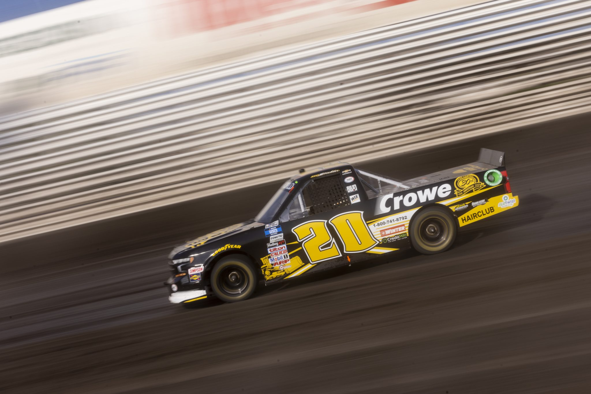KNOXVILLE, IOWA - JULY 08: Kyle Strickler, driver of the #20 Crowe Equipment Chevrolet, drives during practice for the NASCAR Camping World Truck Series Corn Belt 150 presented by Premier Chevy Dealers at Knoxville Raceway on July 08, 2021 in Knoxville, Iowa. (Photo by James Gilbert/Getty Images) | Getty Images