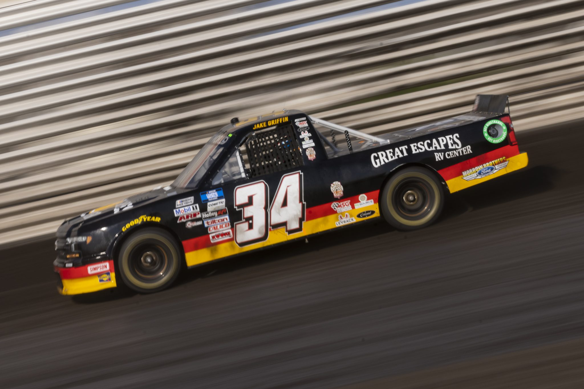 KNOXVILLE, IOWA - JULY 08: Jake Griffin, driver of the #34 Great Escapes RV Center Chevrolet, drives during practice for the NASCAR Camping World Truck Series Corn Belt 150 presented by Premier Chevy Dealers at Knoxville Raceway on July 08, 2021 in Knoxville, Iowa. (Photo by James Gilbert/Getty Images) | Getty Images
