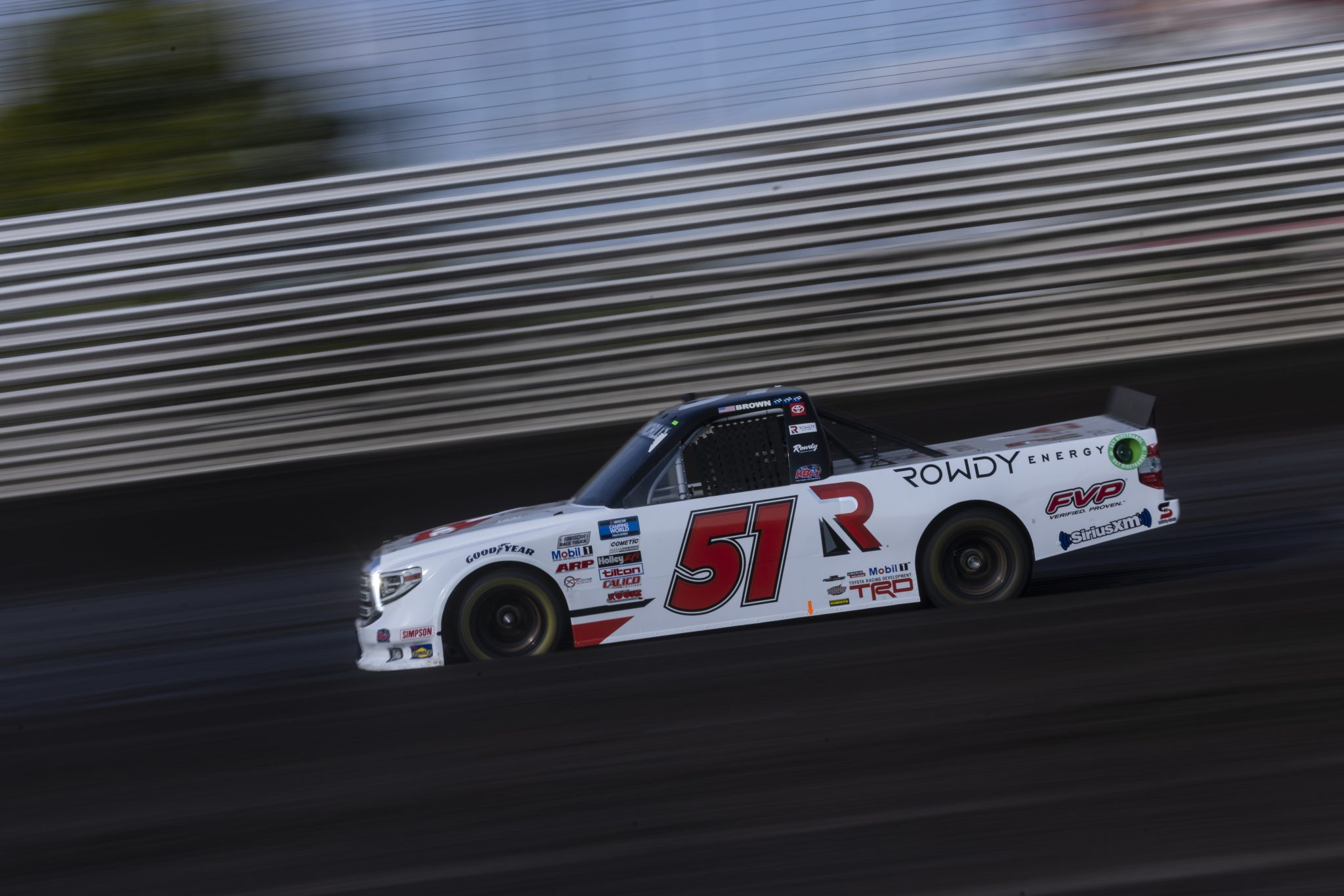 KNOXVILLE, IOWA - JULY 08: Brian Brown, driver of the #51 Casey's/Rowdy Energy Toyota, drives during practice for the NASCAR Camping World Truck Series Corn Belt 150 presented by Premier Chevy Dealers at Knoxville Raceway on July 08, 2021 in Knoxville, Iowa. (Photo by James Gilbert/Getty Images) | Getty Images