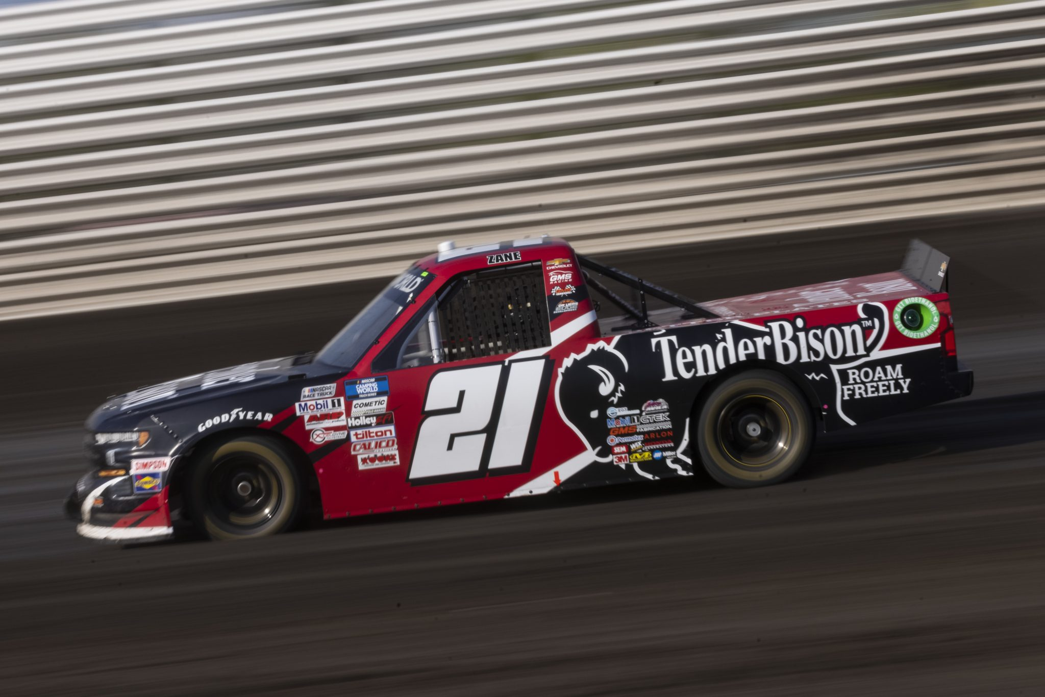 KNOXVILLE, IOWA - JULY 08: Zane Smith, driver of the #21 Tender Bison Chevrolet, drives during practice for the NASCAR Camping World Truck Series Corn Belt 150 presented by Premier Chevy Dealers at Knoxville Raceway on July 08, 2021 in Knoxville, Iowa. (Photo by James Gilbert/Getty Images) | Getty Images