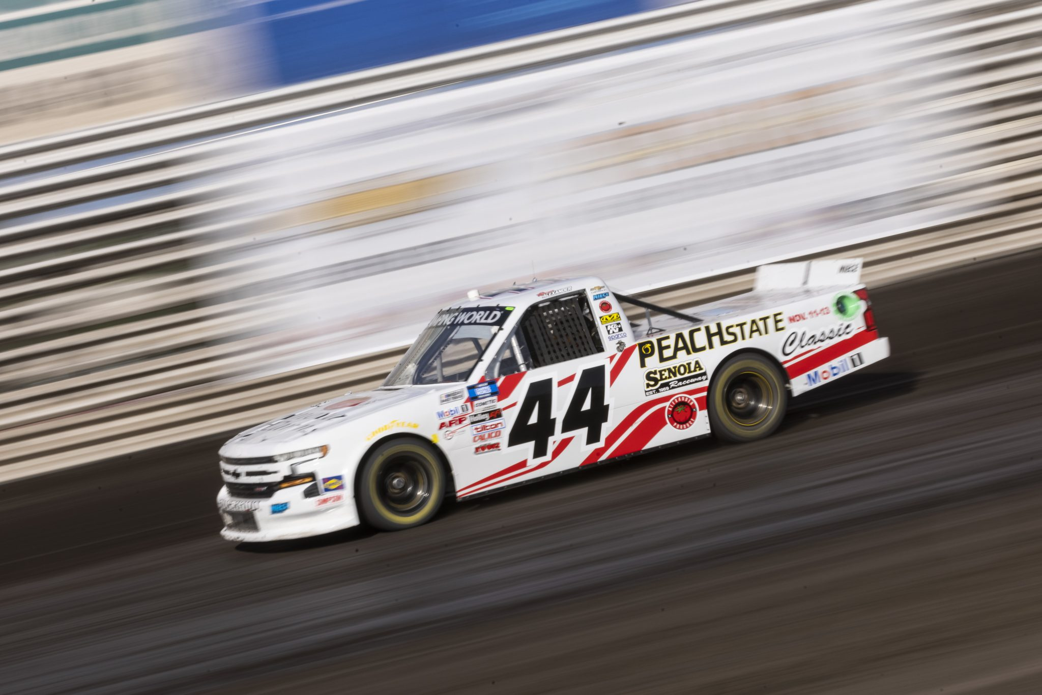 KNOXVILLE, IOWA - JULY 08: Morgan Alexander, driver of the #44 Geneva Farms Chevrolet, drives during practice for the NASCAR Camping World Truck Series Corn Belt 150 presented by Premier Chevy Dealers at Knoxville Raceway on July 08, 2021 in Knoxville, Iowa. (Photo by James Gilbert/Getty Images) | Getty Images