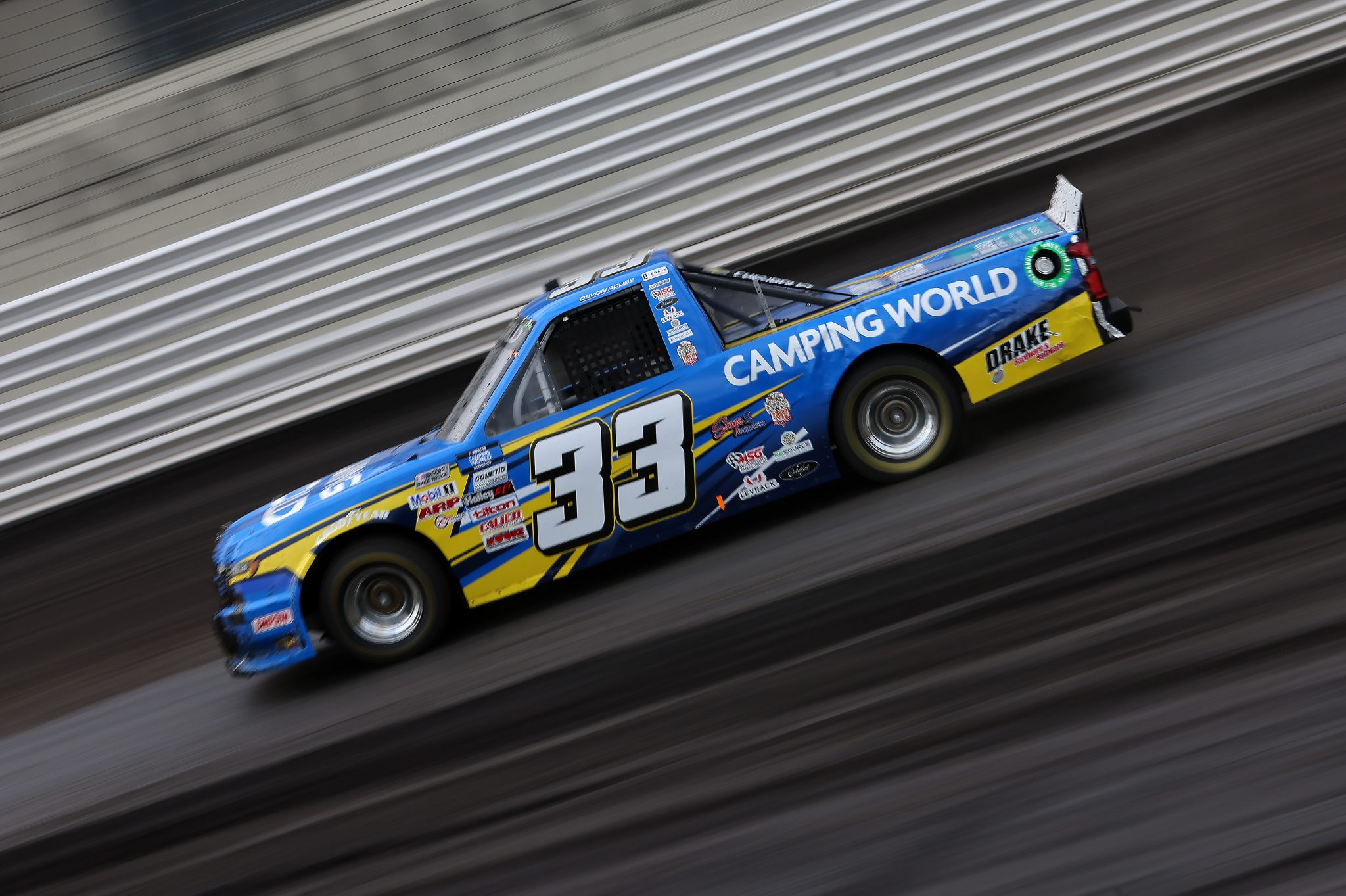 KNOXVILLE, IOWA - JULY 09: Devon Rouse, driver of the #33 Camping World Chevrolet, drives during qualifying for the NASCAR Camping World Truck Series Corn Belt 150 presented by Premier Chevy Dealers at Knoxville Raceway on July 09, 2021 in Knoxville, Iowa. (Photo by James Gilbert/Getty Images) | Getty Images