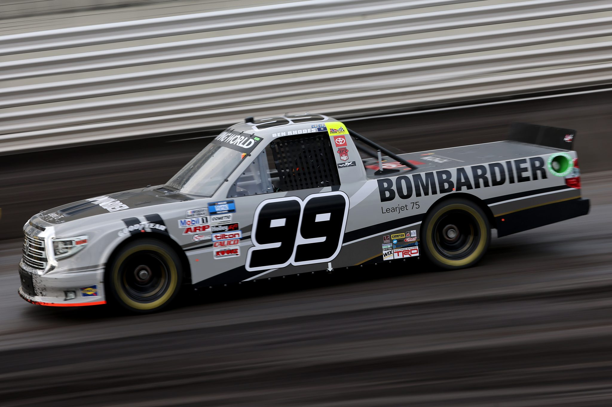 KNOXVILLE, IOWA - JULY 09: Ben Rhodes, driver of the #99 Bombardier LearJet 75 Toyota, drives during qualifying for the NASCAR Camping World Truck Series Corn Belt 150 presented by Premier Chevy Dealers at Knoxville Raceway on July 09, 2021 in Knoxville, Iowa. (Photo by James Gilbert/Getty Images) | Getty Images