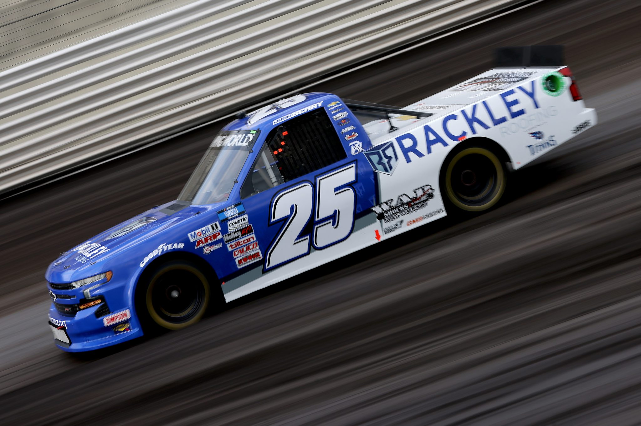 KNOXVILLE, IOWA - JULY 09: Josh Berry, driver of the #25 Rackley Roofing Chevrolet, drives during qualifying for the NASCAR Camping World Truck Series Corn Belt 150 presented by Premier Chevy Dealers at Knoxville Raceway on July 09, 2021 in Knoxville, Iowa. (Photo by James Gilbert/Getty Images) | Getty Images