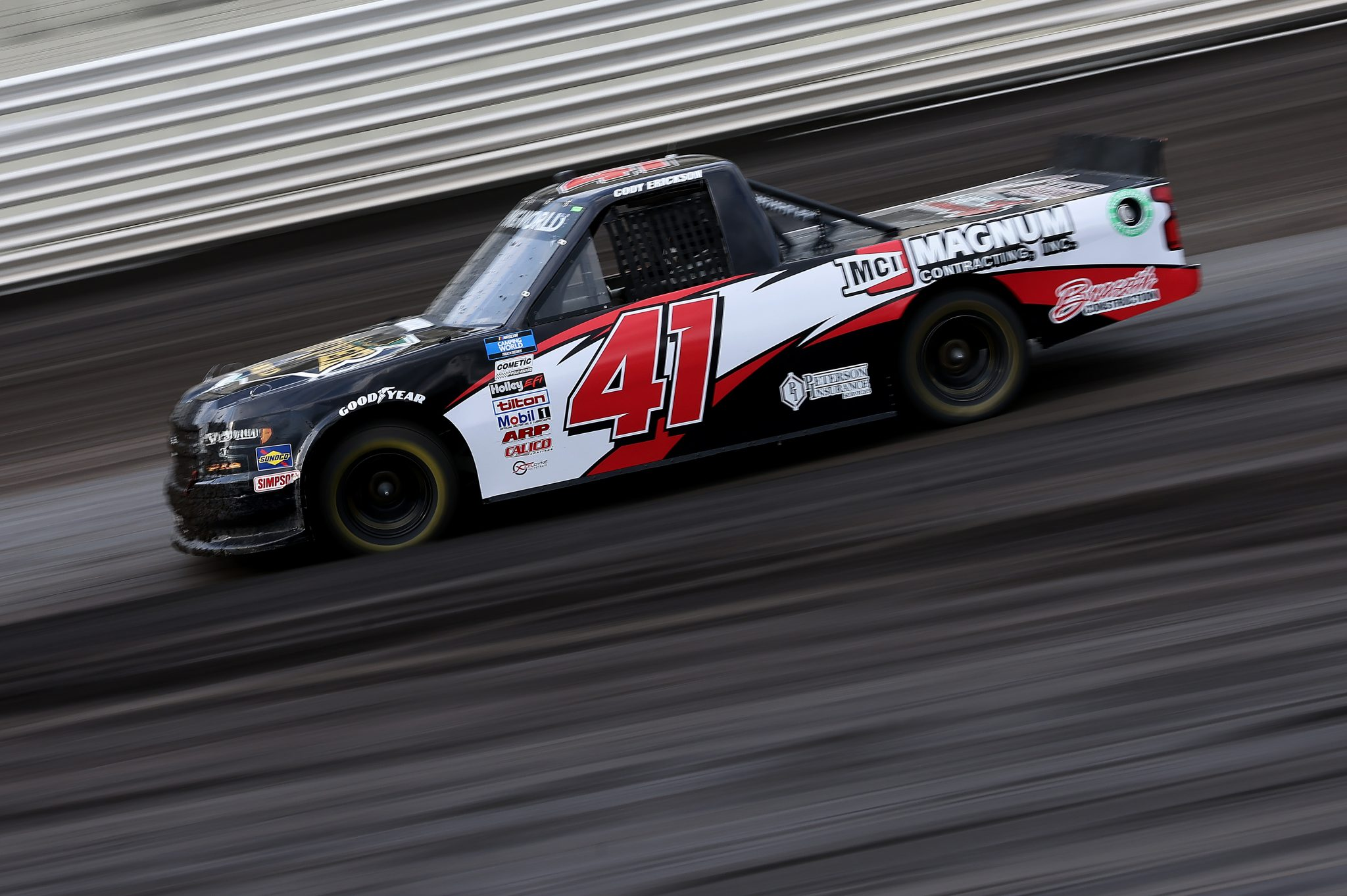 KNOXVILLE, IOWA - JULY 09: Cody Erickson, driver of the #41 Magnum Contracting Inc. Chevrolet, drives during qualifying for the NASCAR Camping World Truck Series Corn Belt 150 presented by Premier Chevy Dealers at Knoxville Raceway on July 09, 2021 in Knoxville, Iowa. (Photo by James Gilbert/Getty Images) | Getty Images