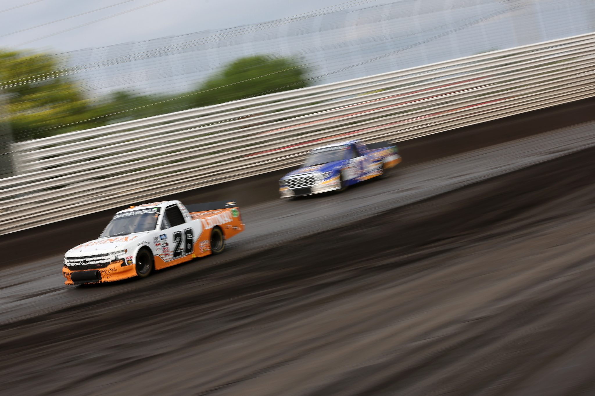 KNOXVILLE, IOWA - JULY 09: Tyler Ankrum, driver of the #26 LiUNA! Chevrolet, drives during qualifying for the NASCAR Camping World Truck Series Corn Belt 150 presented by Premier Chevy Dealers at Knoxville Raceway on July 09, 2021 in Knoxville, Iowa. (Photo by James Gilbert/Getty Images) | Getty Images