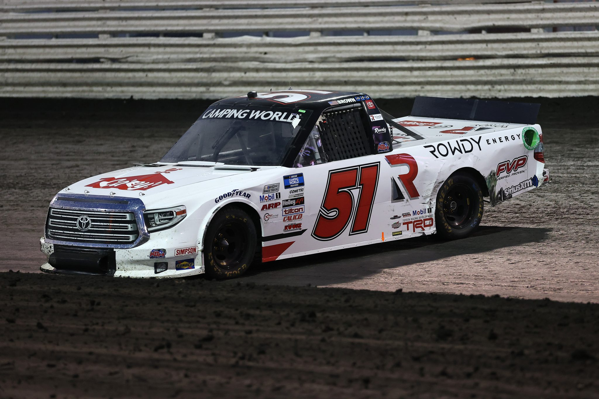 KNOXVILLE, IOWA - JULY 09: Brian Brown, driver of the #51 Casey's/Rowdy Energy Toyota, spins during the NASCAR Camping World Truck Series Corn Belt 150 presented by Premier Chevy Dealers at Knoxville Raceway on July 09, 2021 in Knoxville, Iowa. (Photo by James Gilbert/Getty Images) | Getty Images