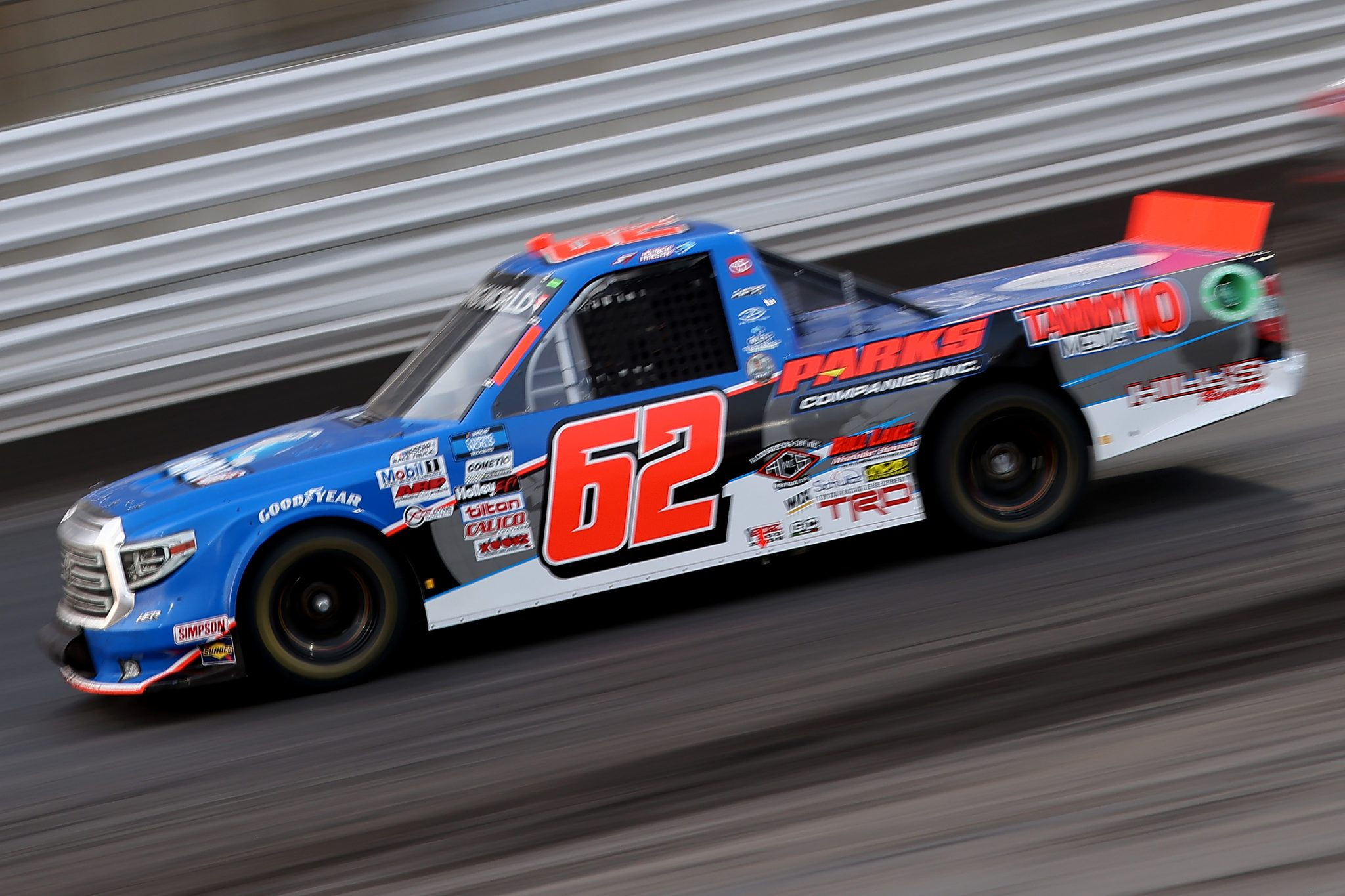 KNOXVILLE, IOWA - JULY 09: Jessica Friesen, driver of the #62 Halmar International Toyota, drives during the NASCAR Camping World Truck Series Corn Belt 150 presented by Premier Chevy Dealers at Knoxville Raceway on July 09, 2021 in Knoxville, Iowa. (Photo by James Gilbert/Getty Images) | Getty Images