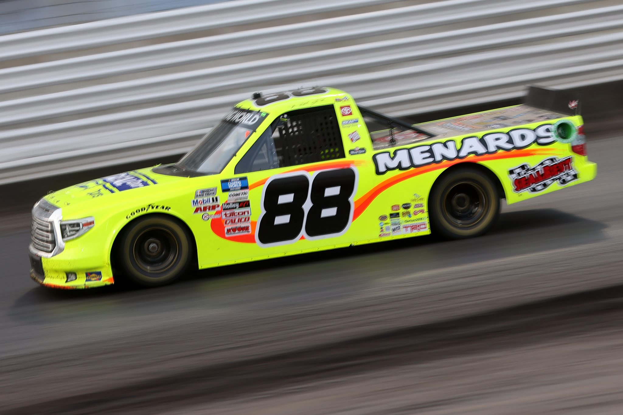 KNOXVILLE, IOWA - JULY 09: Matt Crafton, driver of the #88 Ideal Door/Menards Toyota, drives during the NASCAR Camping World Truck Series Corn Belt 150 presented by Premier Chevy Dealers at Knoxville Raceway on July 09, 2021 in Knoxville, Iowa. (Photo by James Gilbert/Getty Images) | Getty Images
