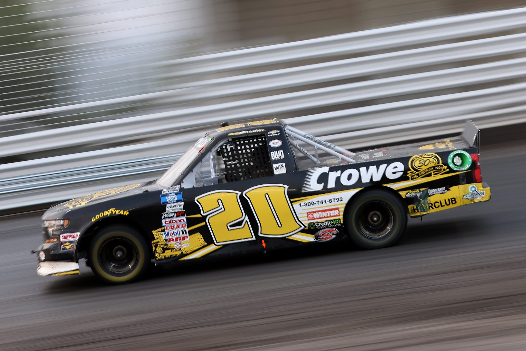 KNOXVILLE, IOWA - JULY 09: Kyle Strickler, driver of the #20 Crowe Equipment Chevrolet, drives during the NASCAR Camping World Truck Series Corn Belt 150 presented by Premier Chevy Dealers at Knoxville Raceway on July 09, 2021 in Knoxville, Iowa. (Photo by James Gilbert/Getty Images)   Getty Images