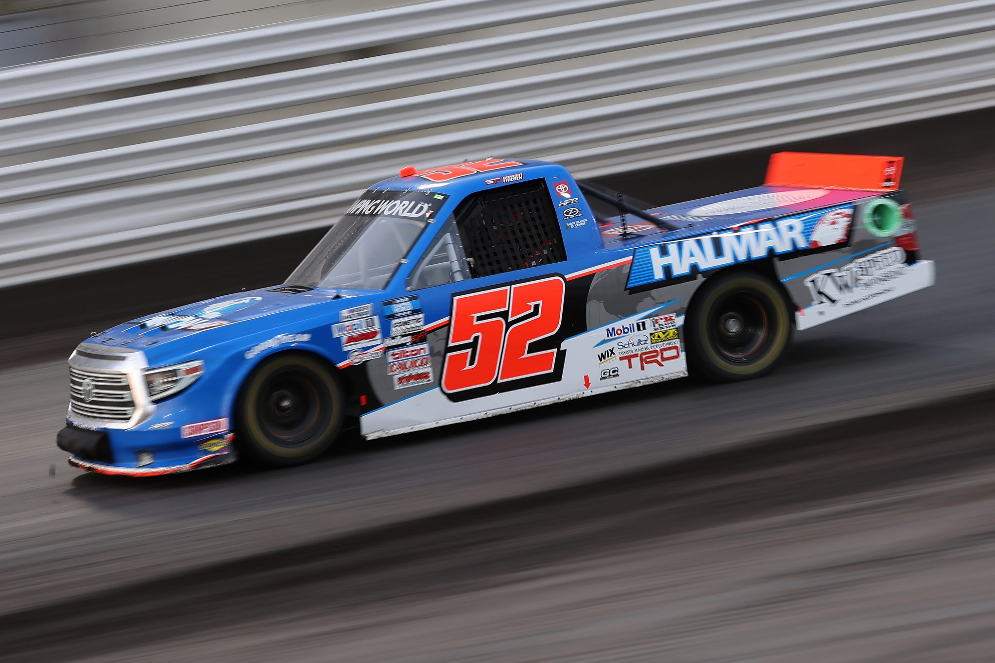 KNOXVILLE, IOWA - JULY 09: Stewart Friesen, driver of the #52 Halmar International Toyota, drives during the NASCAR Camping World Truck Series Corn Belt 150 presented by Premier Chevy Dealers at Knoxville Raceway on July 09, 2021 in Knoxville, Iowa. (Photo by James Gilbert/Getty Images) | Getty Images