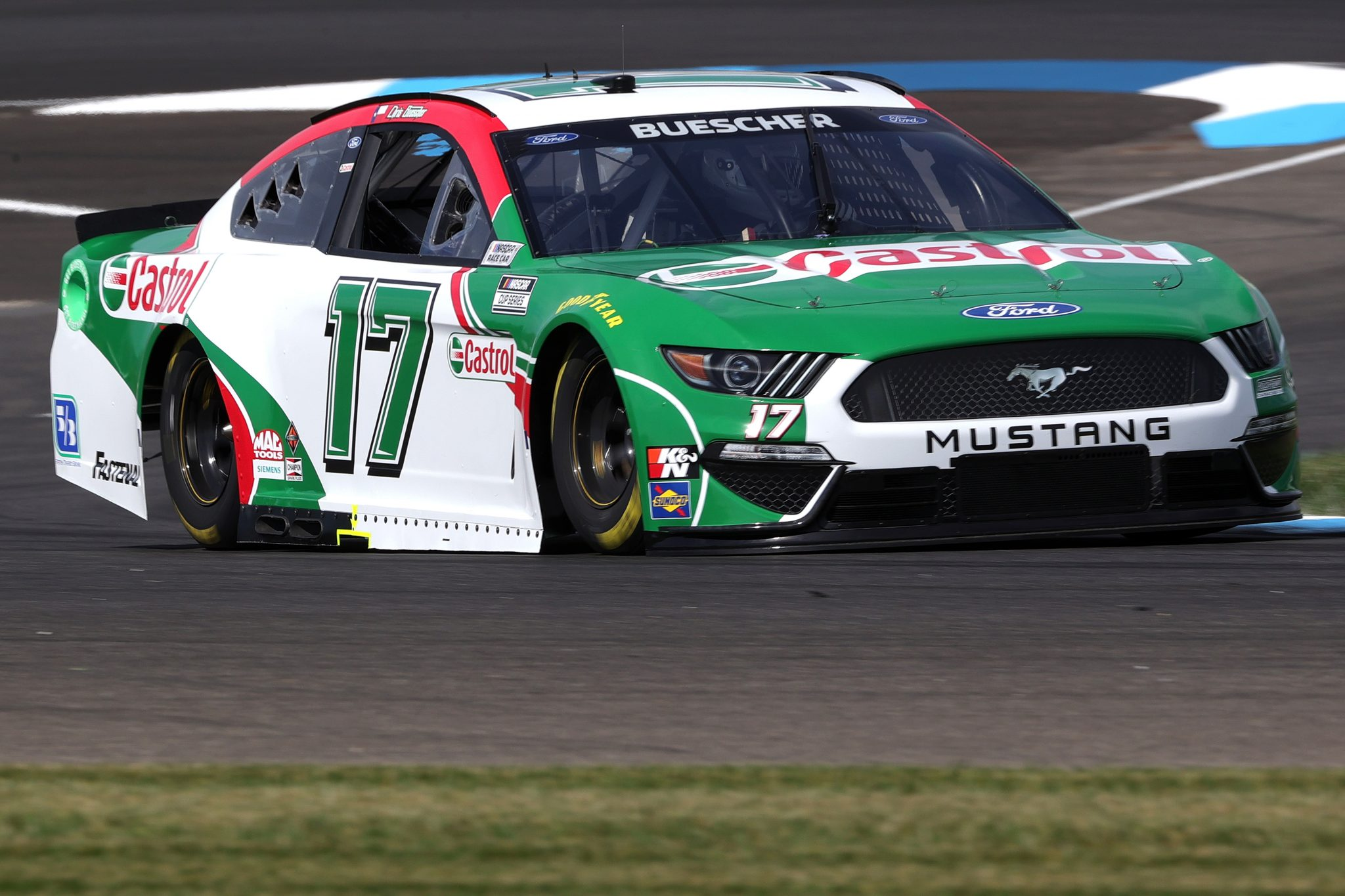 INDIANAPOLIS, INDIANA - AUGUST 14: Chris Buescher, driver of the #17 Castrol Ford, drives during practice for the NASCAR Cup Series Verizon 200 at the Brickyard at Indianapolis Motor Speedway on August 14, 2021 in Indianapolis, Indiana. (Photo by Stacy Revere/Getty Images) | Getty Images