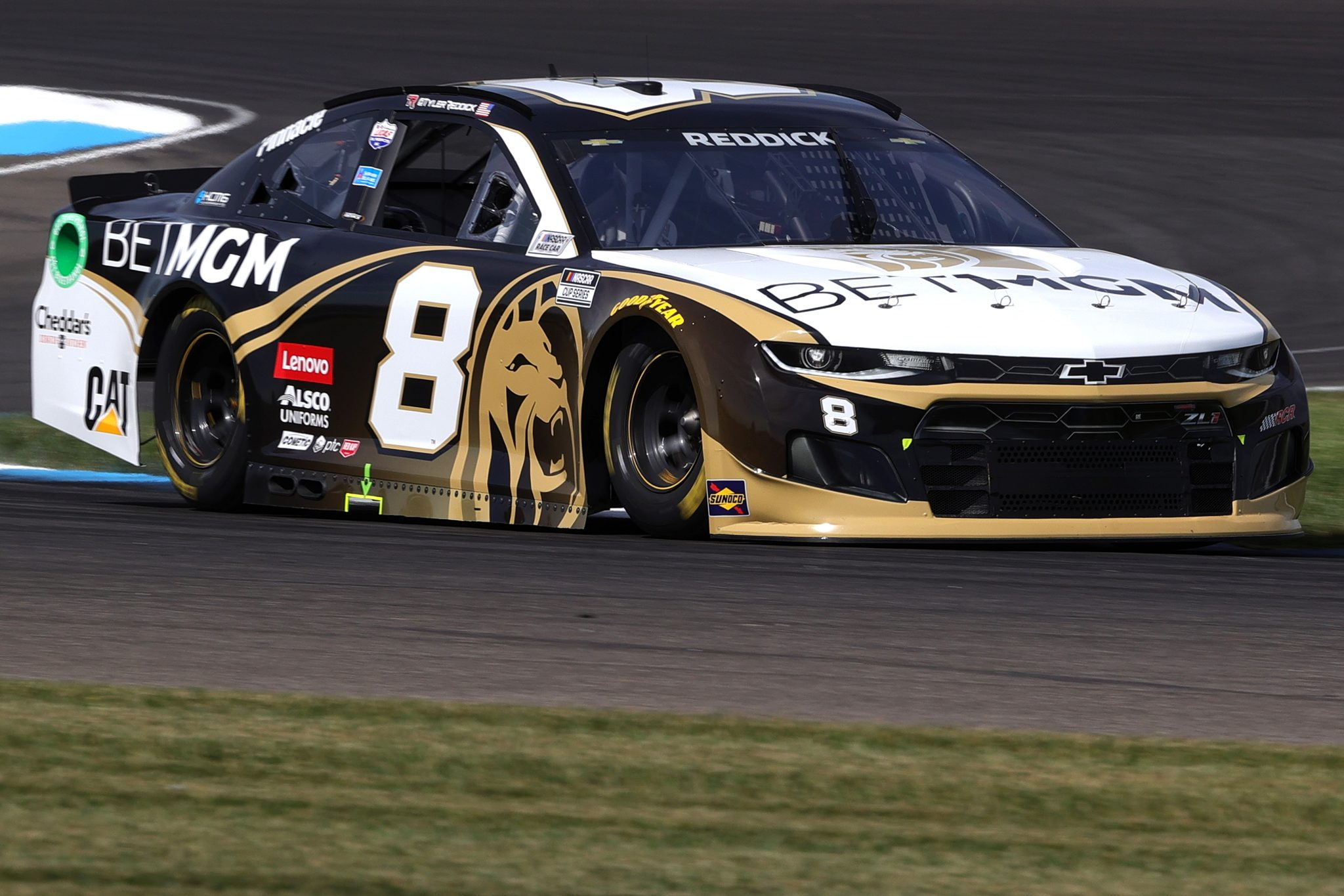 INDIANAPOLIS, INDIANA - AUGUST 14: Tyler Reddick, driver of the #8 BetMGM Chevrolet, drives during practice for the NASCAR Cup Series Verizon 200 at the Brickyard at Indianapolis Motor Speedway on August 14, 2021 in Indianapolis, Indiana. (Photo by Stacy Revere/Getty Images)   Getty Images