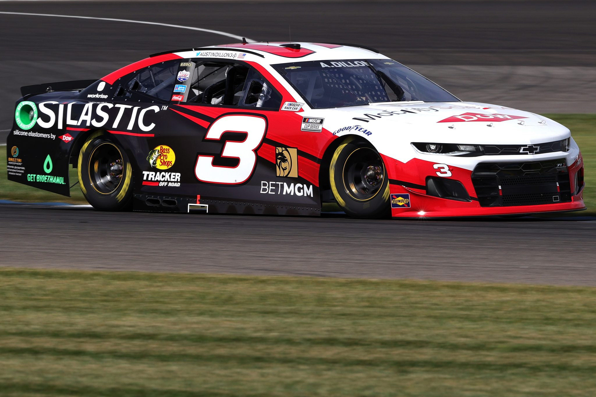 INDIANAPOLIS, INDIANA - AUGUST 14: Austin Dillon, driver of the #3 Dow MobilityScience Chevrolet, drives during practice for the NASCAR Cup Series Verizon 200 at the Brickyard at Indianapolis Motor Speedway on August 14, 2021 in Indianapolis, Indiana. (Photo by Stacy Revere/Getty Images)   Getty Images