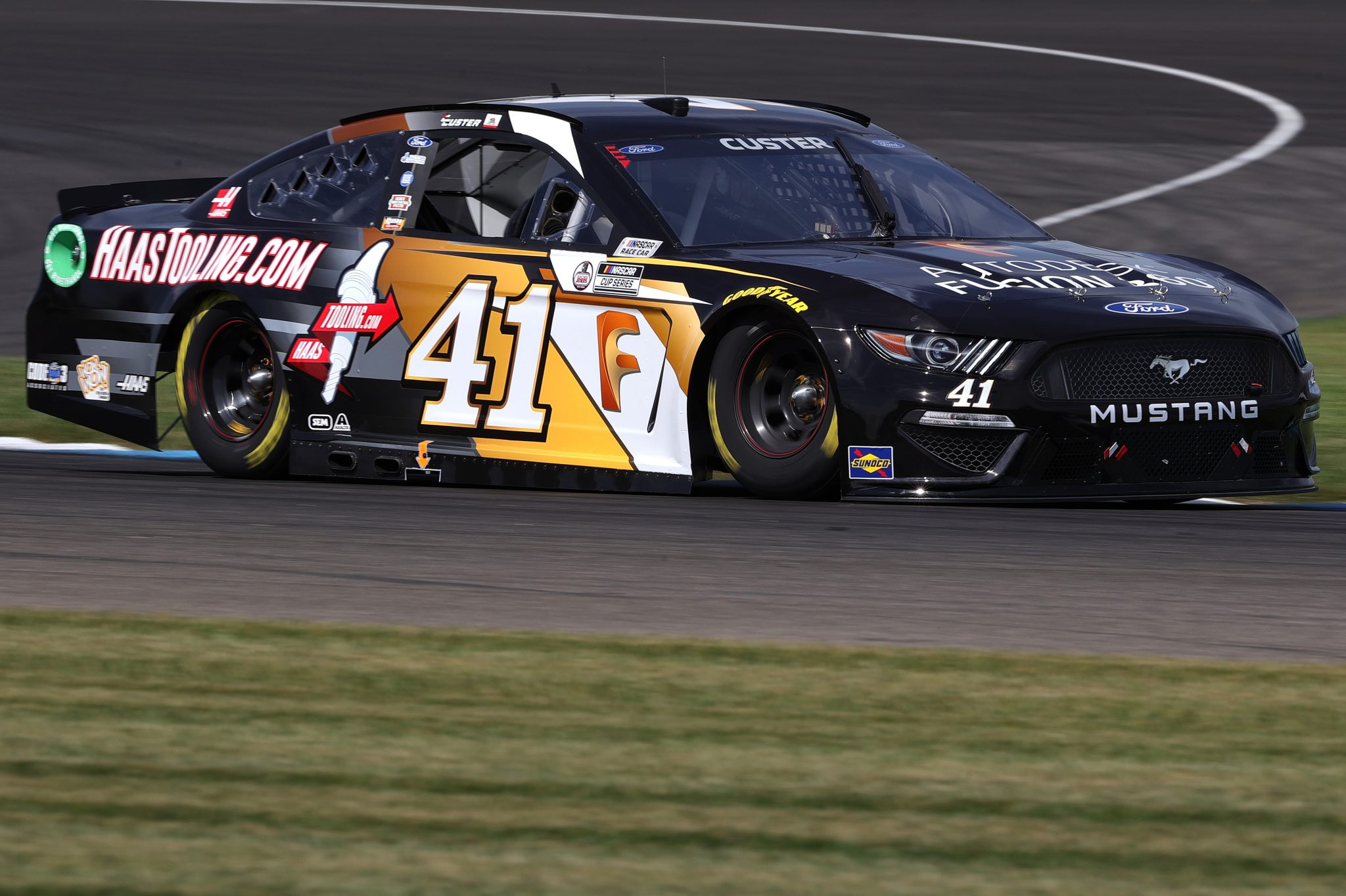 INDIANAPOLIS, INDIANA - AUGUST 14: Cole Custer, driver of the #41 Autodesk/HaasTooling.com Ford, drives during practice for the NASCAR Cup Series Verizon 200 at the Brickyard at Indianapolis Motor Speedway on August 14, 2021 in Indianapolis, Indiana. (Photo by Stacy Revere/Getty Images)   Getty Images