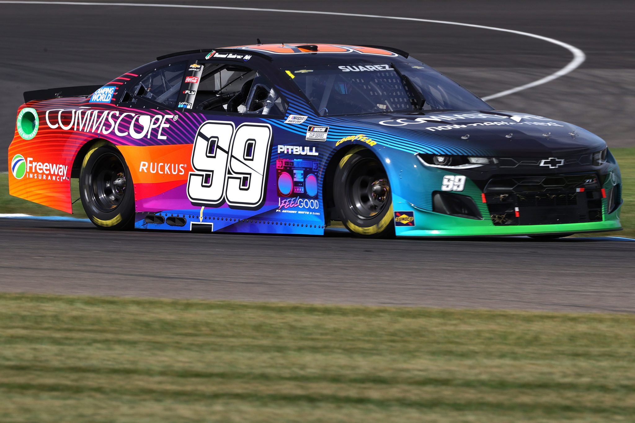 INDIANAPOLIS, INDIANA - AUGUST 14: Daniel Suarez, driver of the #99 CommScope Chevrolet, drives during practice for the NASCAR Cup Series Verizon 200 at the Brickyard at Indianapolis Motor Speedway on August 14, 2021 in Indianapolis, Indiana. (Photo by Stacy Revere/Getty Images)   Getty Images
