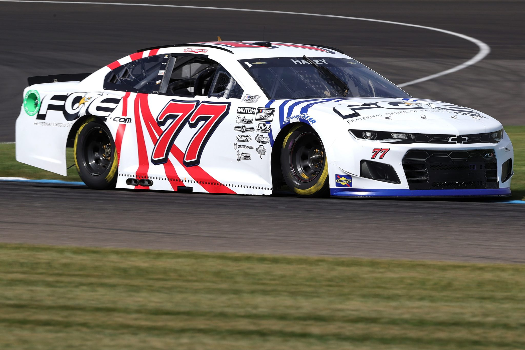 INDIANAPOLIS, INDIANA - AUGUST 14: Justin Haley, driver of the #77 Fraternal Order of Eagles Chevrolet, drives during practice for the NASCAR Cup Series Verizon 200 at the Brickyard at Indianapolis Motor Speedway on August 14, 2021 in Indianapolis, Indiana. (Photo by Stacy Revere/Getty Images) | Getty Images