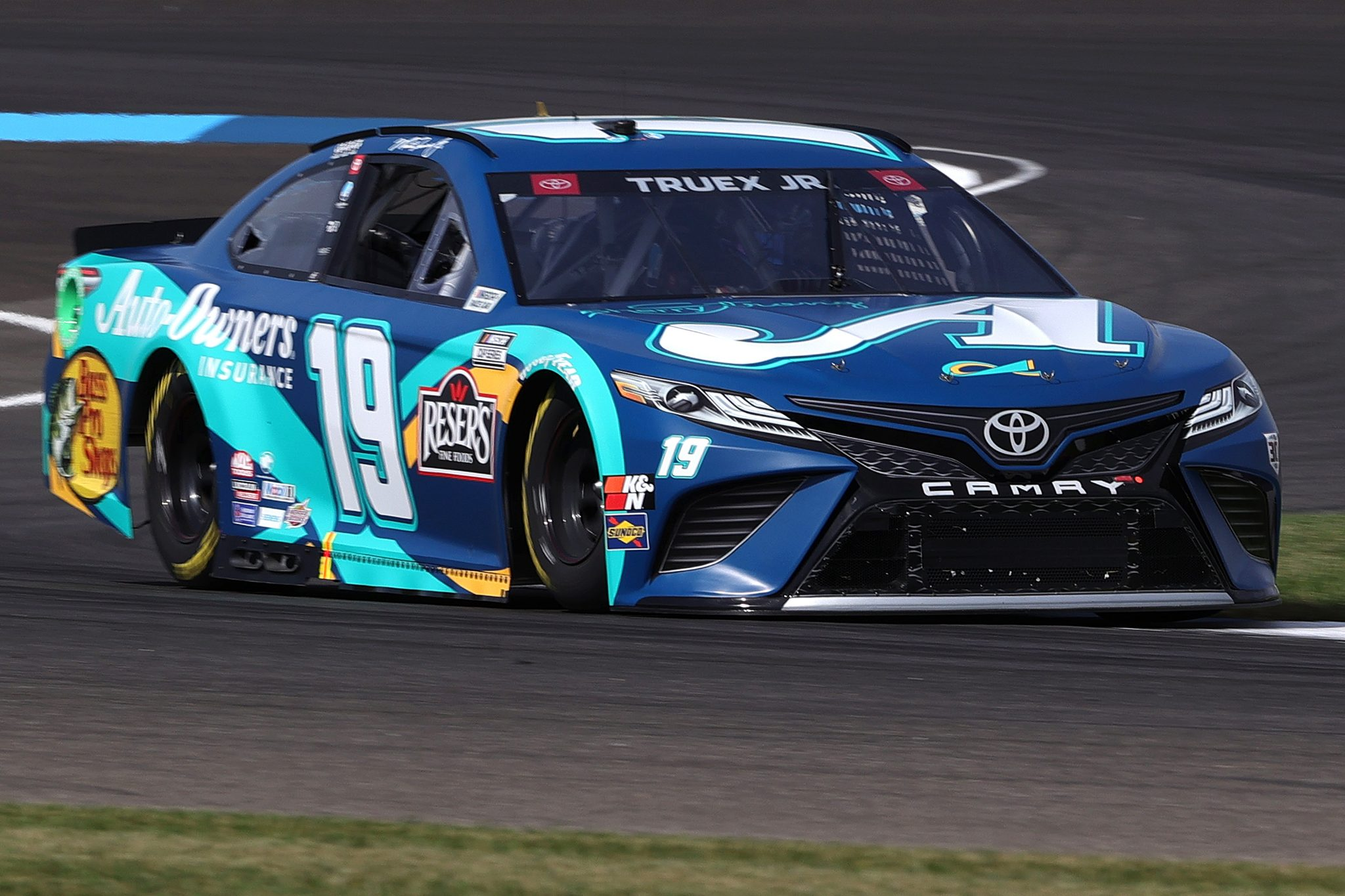 INDIANAPOLIS, INDIANA - AUGUST 14: Martin Truex Jr., driver of the #19 Auto-Owners Insurance/MTJF Toyota, drives during practice for the NASCAR Cup Series Verizon 200 at the Brickyard at Indianapolis Motor Speedway on August 14, 2021 in Indianapolis, Indiana. (Photo by Stacy Revere/Getty Images) | Getty Images