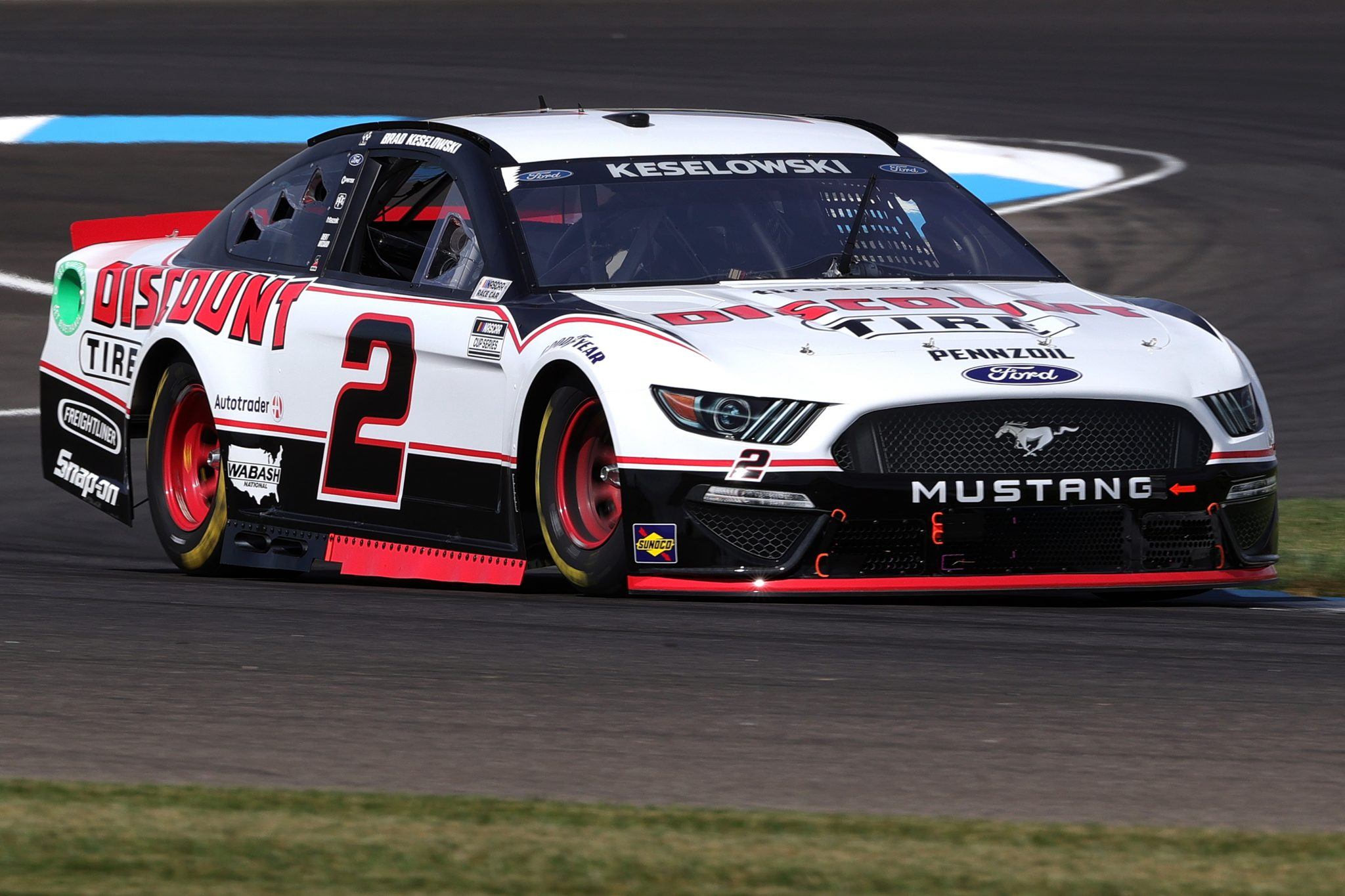 INDIANAPOLIS, INDIANA - AUGUST 14: Brad Keselowski, driver of the #2 Discount Tire Ford, drives during practice for the NASCAR Cup Series Verizon 200 at the Brickyard at Indianapolis Motor Speedway on August 14, 2021 in Indianapolis, Indiana. (Photo by Stacy Revere/Getty Images)   Getty Images