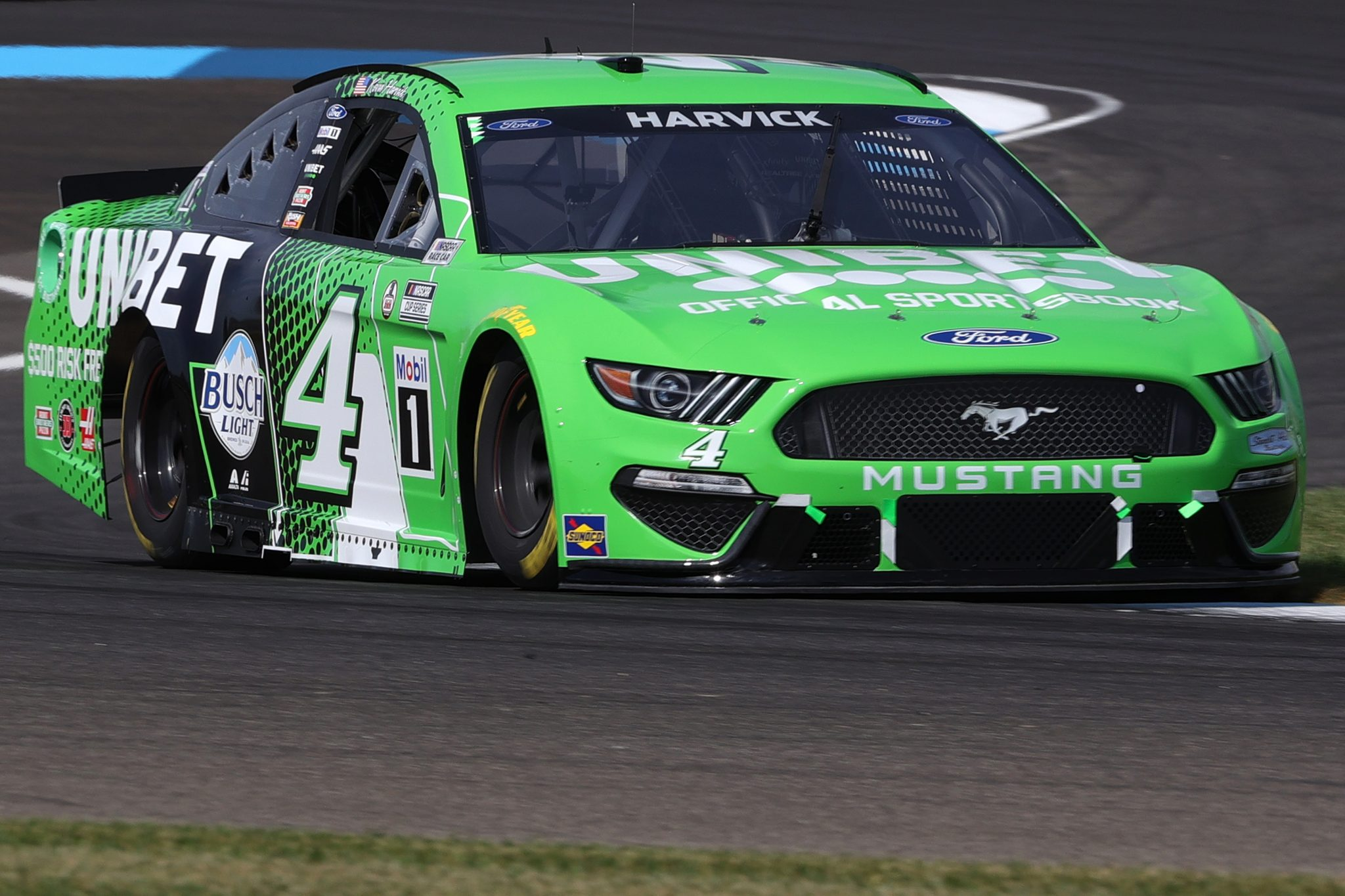 INDIANAPOLIS, INDIANA - AUGUST 14: Kevin Harvick, driver of the #4 Unibet Ford, drives during practice for the NASCAR Cup Series Verizon 200 at the Brickyard at Indianapolis Motor Speedway on August 14, 2021 in Indianapolis, Indiana. (Photo by Stacy Revere/Getty Images)   Getty Images