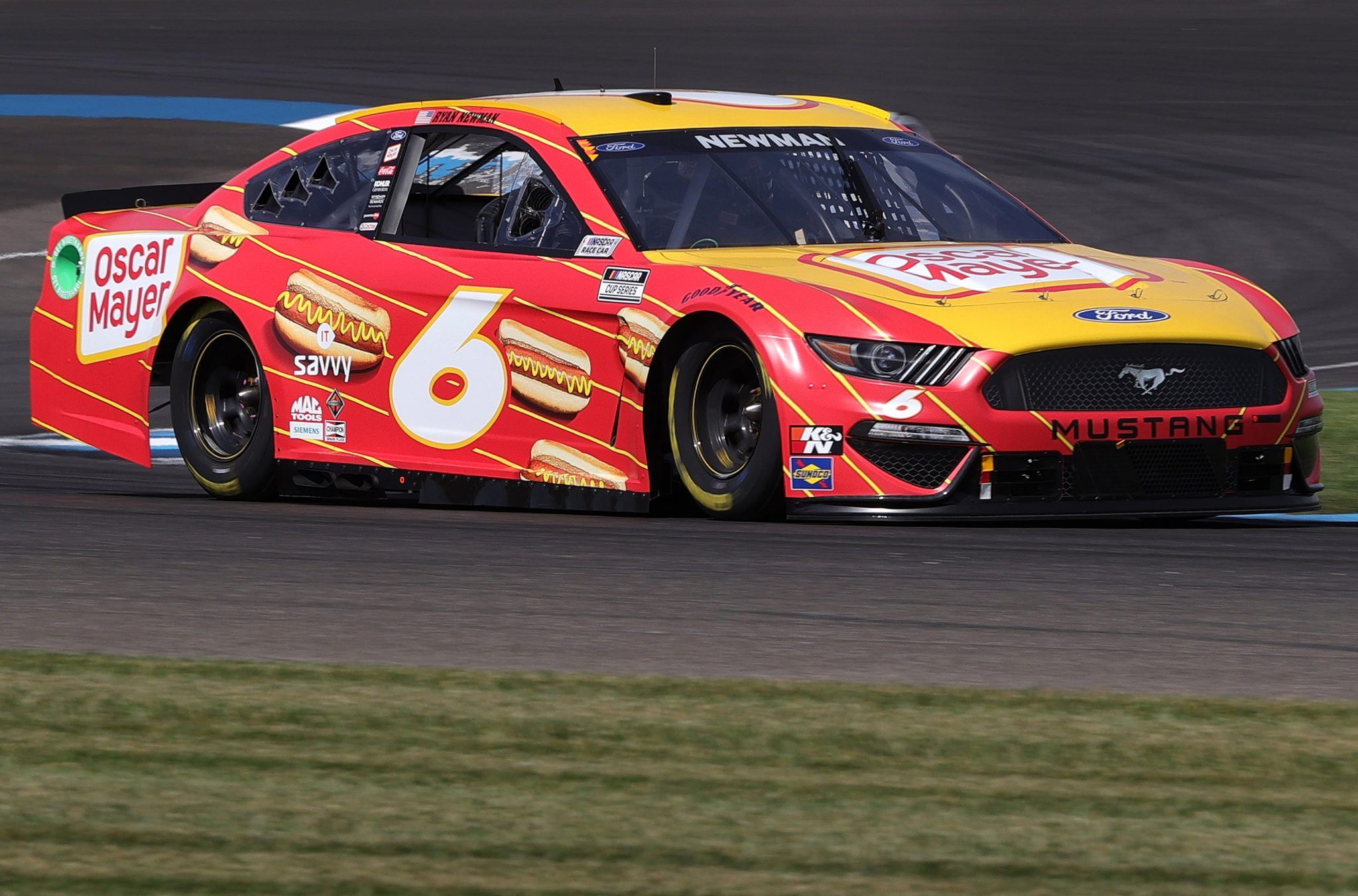 INDIANAPOLIS, INDIANA - AUGUST 14: Ryan Newman, driver of the #6 Oscar Mayer Hot Dogs Ford, drives during practice for the NASCAR Cup Series Verizon 200 at the Brickyard at Indianapolis Motor Speedway on August 14, 2021 in Indianapolis, Indiana. (Photo by Stacy Revere/Getty Images) | Getty Images