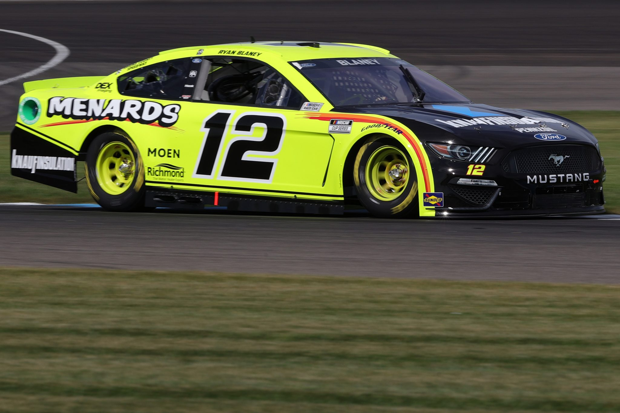 INDIANAPOLIS, INDIANA - AUGUST 14: Ryan Blaney, driver of the #12 Menards/Knauf Ford, drives during practice for the NASCAR Cup Series Verizon 200 at the Brickyard at Indianapolis Motor Speedway on August 14, 2021 in Indianapolis, Indiana. (Photo by Stacy Revere/Getty Images)   Getty Images
