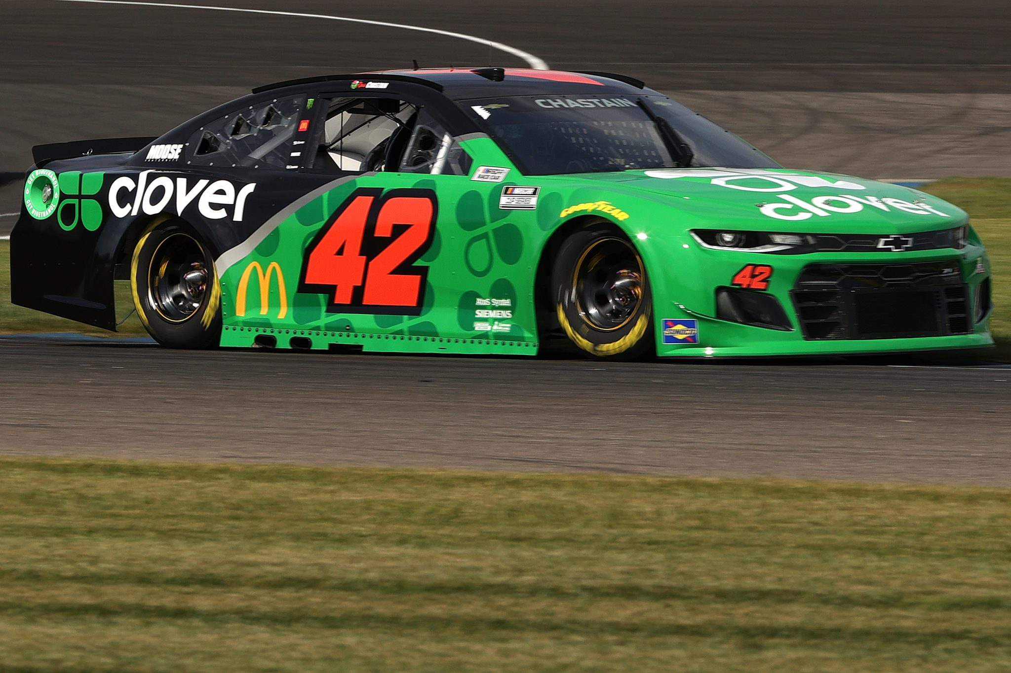 INDIANAPOLIS, INDIANA - AUGUST 14: Ross Chastain, driver of the #42 Clover Chevrolet, drives during practice for the NASCAR Cup Series Verizon 200 at the Brickyard at Indianapolis Motor Speedway on August 14, 2021 in Indianapolis, Indiana. (Photo by Stacy Revere/Getty Images) | Getty Images