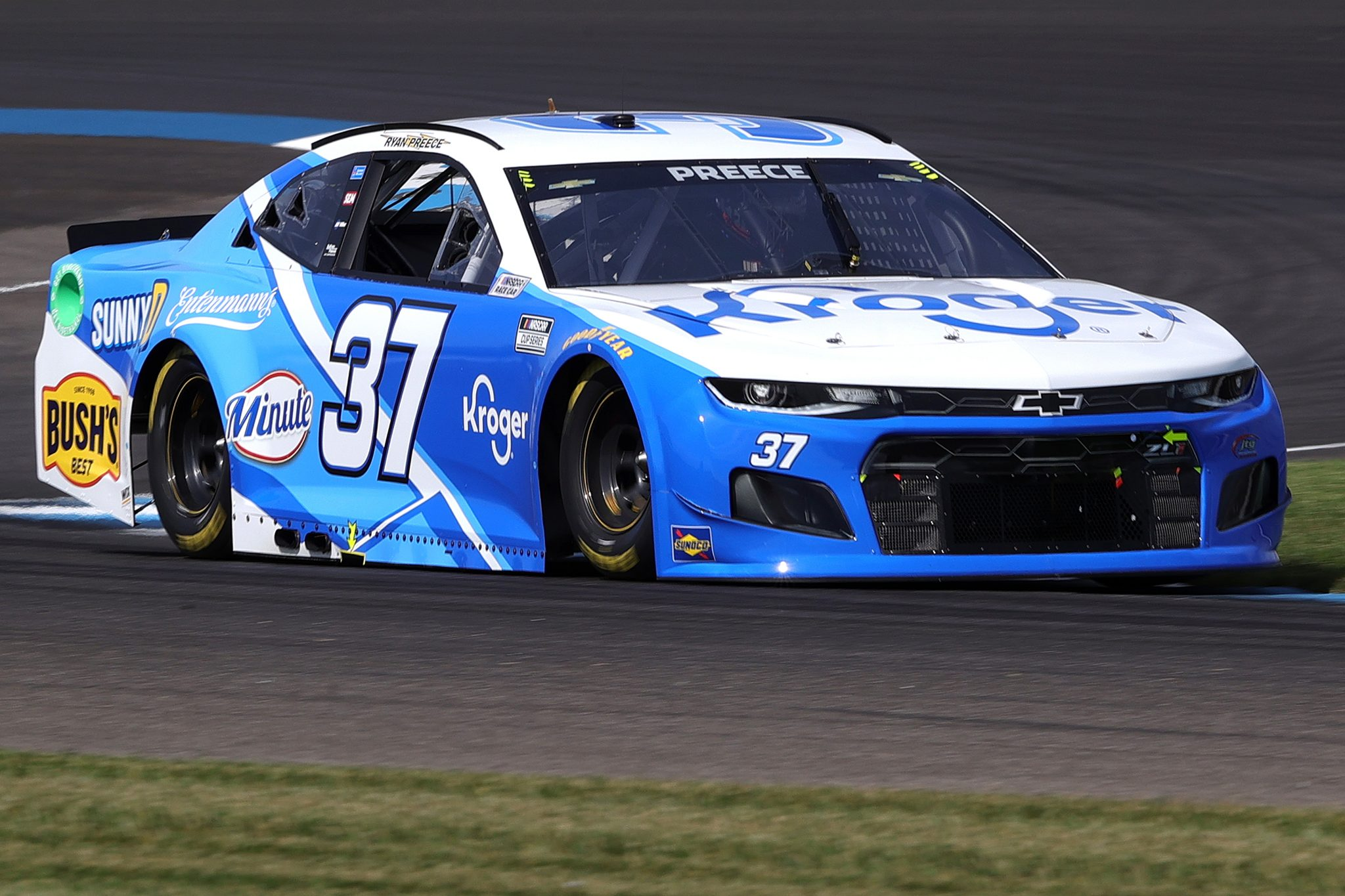 INDIANAPOLIS, INDIANA - AUGUST 14: Ryan Preece, driver of the #37 Kroger Chevrolet, drives during practice for the NASCAR Cup Series Verizon 200 at the Brickyard at Indianapolis Motor Speedway on August 14, 2021 in Indianapolis, Indiana. (Photo by Stacy Revere/Getty Images) | Getty Images