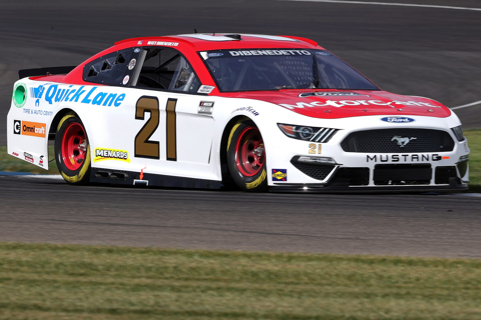 INDIANAPOLIS, INDIANA - AUGUST 14: Matt Dibenedetto, driver of the #21 Motorcraft/Quick Lane Ford, drives during practice for the NASCAR Cup Series Verizon 200 at the Brickyard at Indianapolis Motor Speedway on August 14, 2021 in Indianapolis, Indiana. (Photo by Stacy Revere/Getty Images)   Getty Images