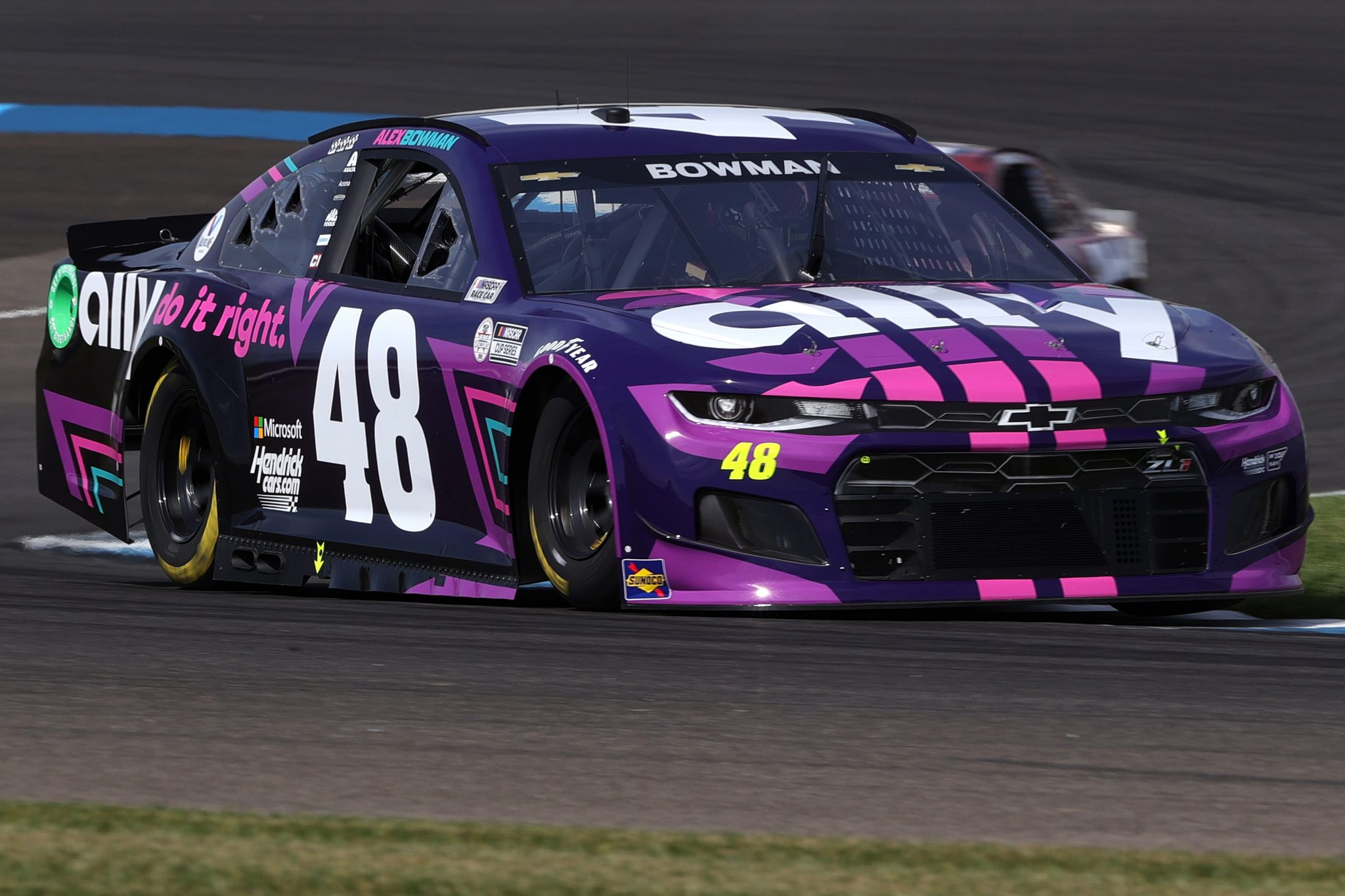 INDIANAPOLIS, INDIANA - AUGUST 14: Alex Bowman, driver of the #48 Ally Chevrolet, drivesduring practice for the NASCAR Cup Series Verizon 200 at the Brickyard at Indianapolis Motor Speedway on August 14, 2021 in Indianapolis, Indiana. (Photo by Stacy Revere/Getty Images) | Getty Images