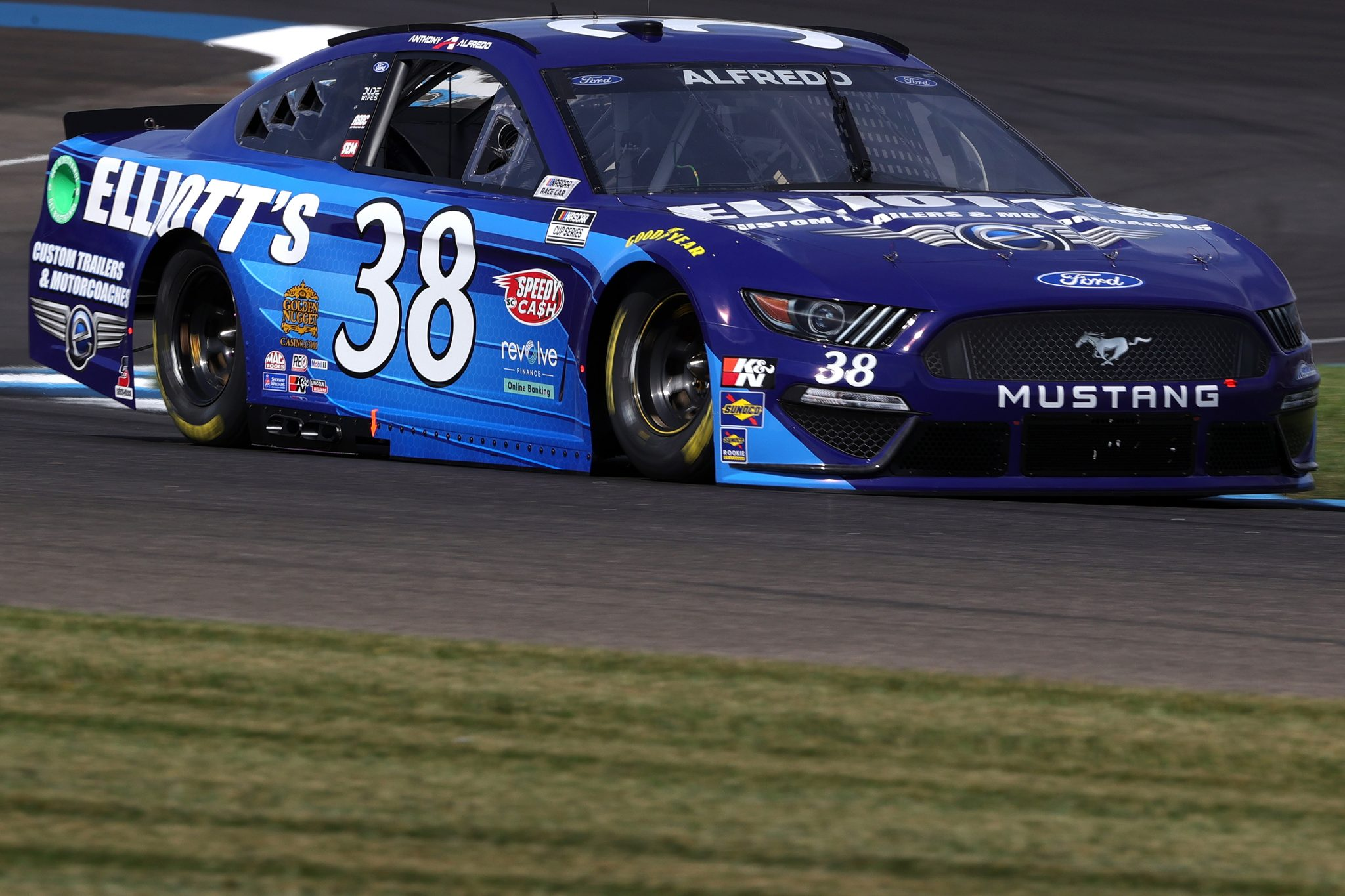 INDIANAPOLIS, INDIANA - AUGUST 14: Anthony Alfredo, driver of the #38 Elliott's Custom Motorcoaches Ford, drives during practice for the NASCAR Cup Series Verizon 200 at the Brickyard at Indianapolis Motor Speedway on August 14, 2021 in Indianapolis, Indiana. (Photo by Stacy Revere/Getty Images)   Getty Images