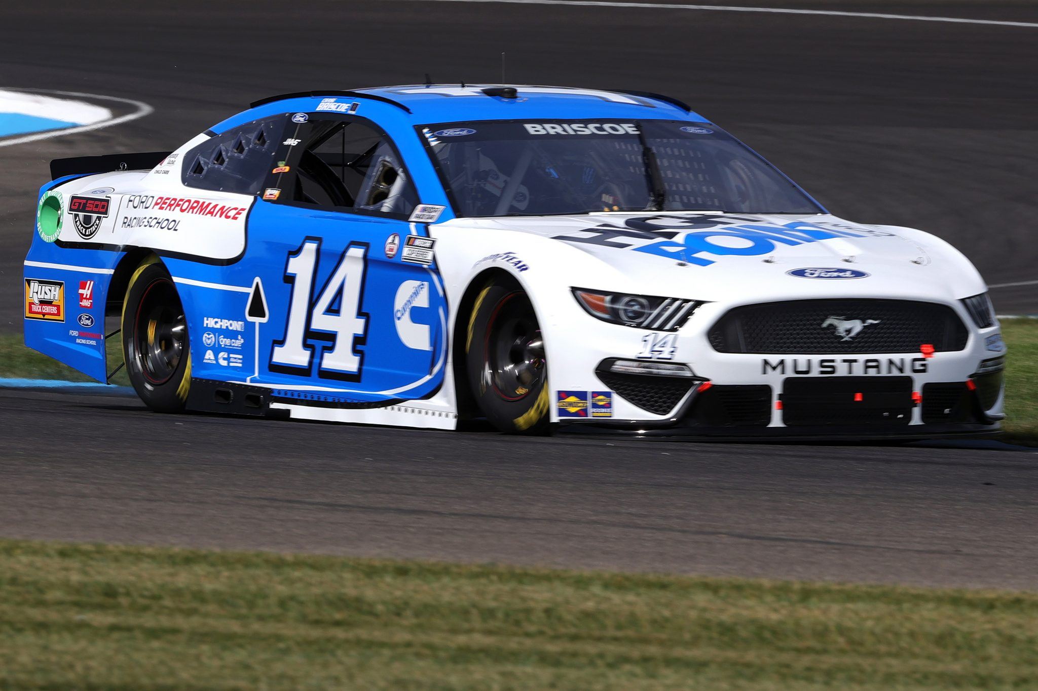 INDIANAPOLIS, INDIANA - AUGUST 14: Chase Briscoe, driver of the #14 HighPoint.com/FordPerf.RacingSchool Ford, drives during practice for the NASCAR Cup Series Verizon 200 at the Brickyard at Indianapolis Motor Speedway on August 14, 2021 in Indianapolis, Indiana. (Photo by Stacy Revere/Getty Images)   Getty Images