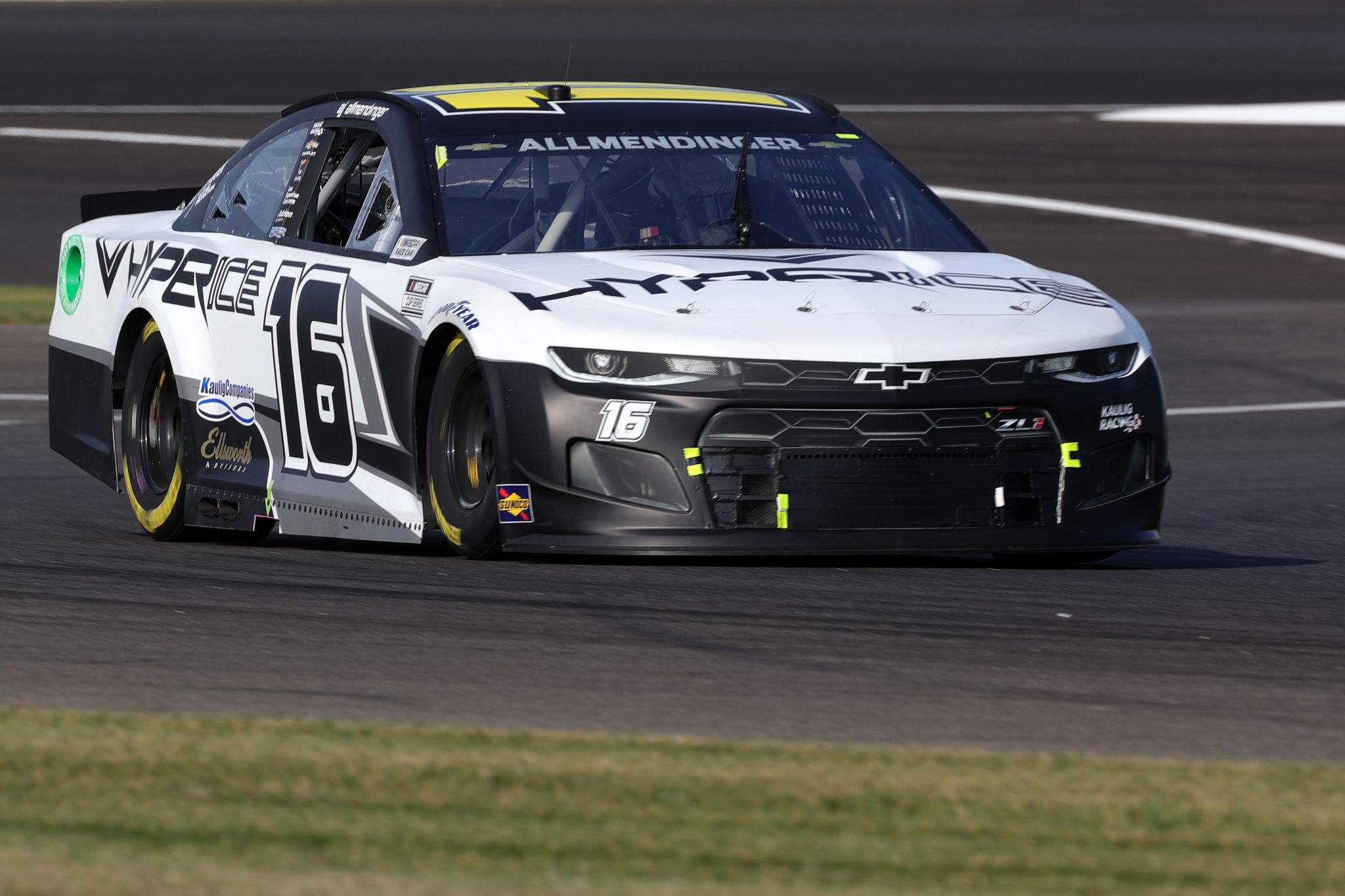 INDIANAPOLIS, INDIANA - AUGUST 15: AJ Allmendinger, driver of the #16 Hyperice Chevrolet, drives during qualifying for the NASCAR Cup Series Verizon 200 at the Brickyard at Indianapolis Motor Speedway on August 15, 2021 in Indianapolis, Indiana. (Photo by Stacy Revere/Getty Images)   Getty Images