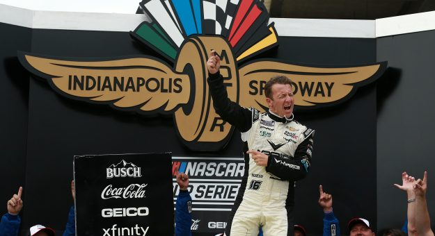 INDIANAPOLIS, INDIANA - AUGUST 15: AJ Allmendinger, driver of the #16 Hyperice Chevrolet, celebrates in victory lane after winning the NASCAR Cup Series Verizon 200 at the Brickyard at Indianapolis Motor Speedway on August 15, 2021 in Indianapolis, Indiana. (Photo by Sean Gardner/Getty Images) | Getty Images