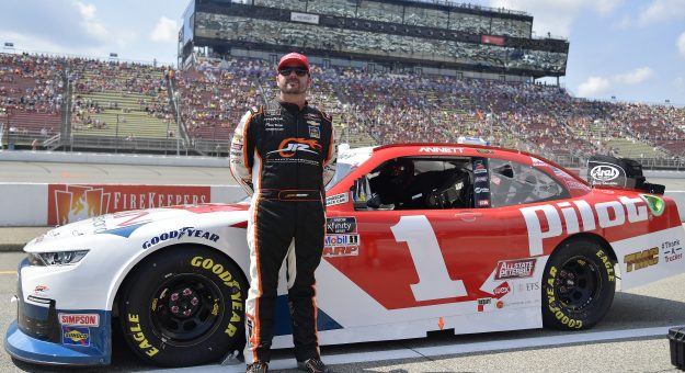 BROOKLYN, MICHIGAN - AUGUST 21: Josh Berry, driver of the #1 Pilot Flying J TMAF Chevrolet, waits on the grid prior to the NASCAR Xfinity Series New Holland 250 at Michigan International Speedway on August 21, 2021 in Brooklyn, Michigan. (Photo by Logan Riely/Getty Images) | Getty Images