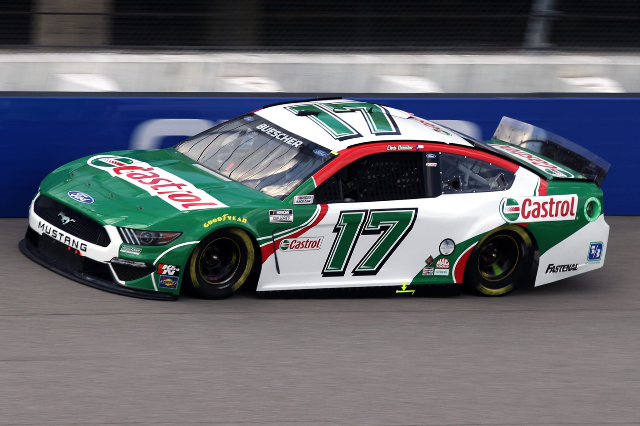 BROOKLYN, MICHIGAN - AUGUST 22: Chris Buescher, driver of the #17 Castrol Ford, drives during the NASCAR Cup Series FireKeepers Casino 400 at Michigan International Speedway on August 22, 2021 in Brooklyn, Michigan. (Photo by Sean Gardner/Getty Images) | Getty Images