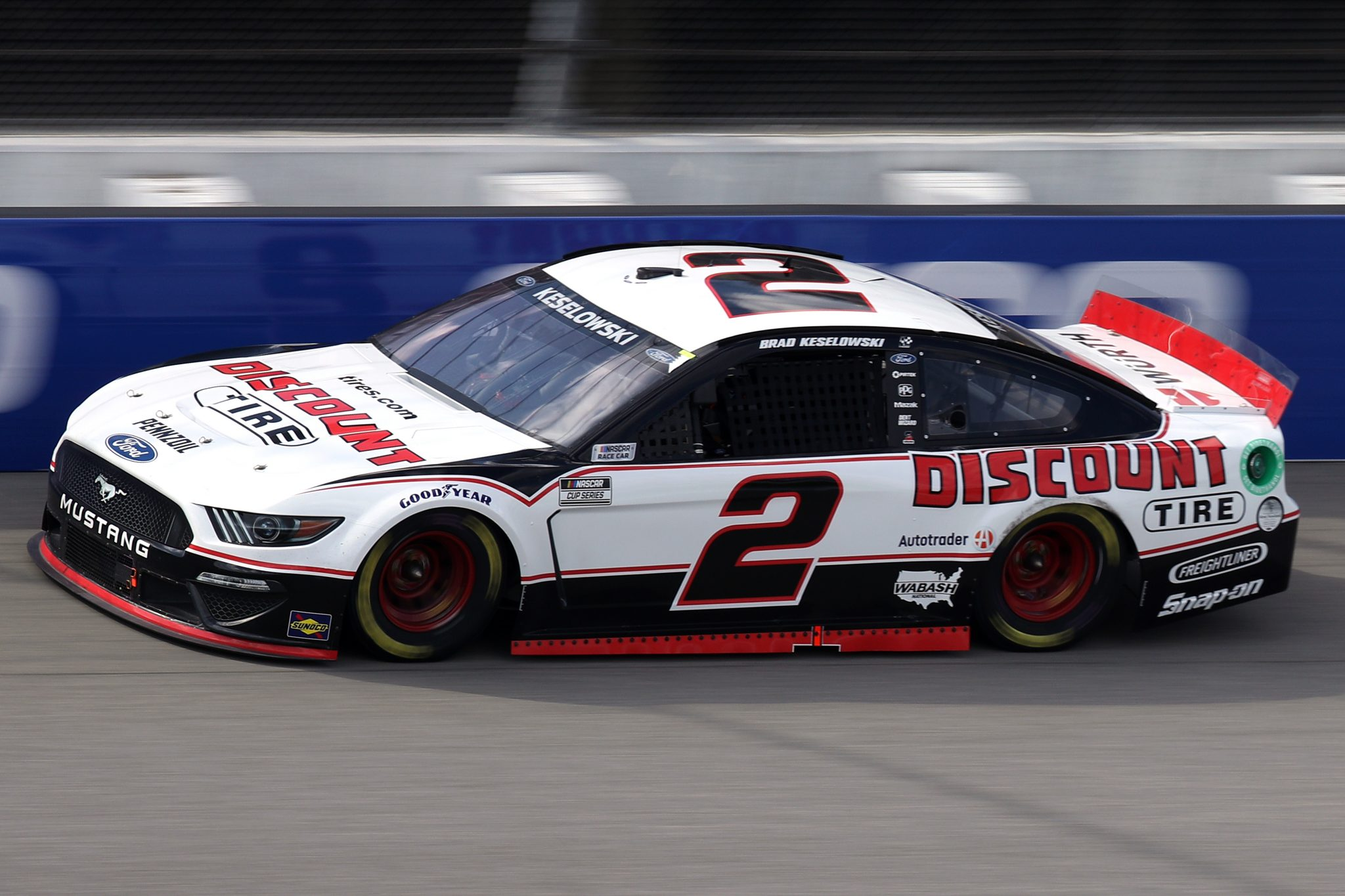 BROOKLYN, MICHIGAN - AUGUST 22: Brad Keselowski, driver of the #2 Discount Tire Ford, drives during the NASCAR Cup Series FireKeepers Casino 400 at Michigan International Speedway on August 22, 2021 in Brooklyn, Michigan. (Photo by Sean Gardner/Getty Images)   Getty Images