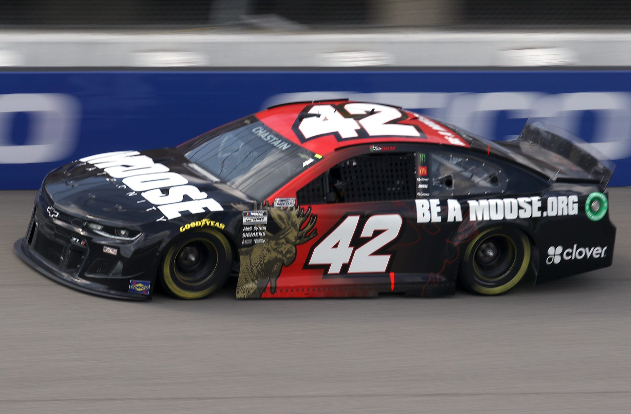 BROOKLYN, MICHIGAN - AUGUST 22: Ross Chastain, driver of the #42 Moose Fraternity Chevrolet, drives during the NASCAR Cup Series FireKeepers Casino 400 at Michigan International Speedway on August 22, 2021 in Brooklyn, Michigan. (Photo by Sean Gardner/Getty Images) | Getty Images
