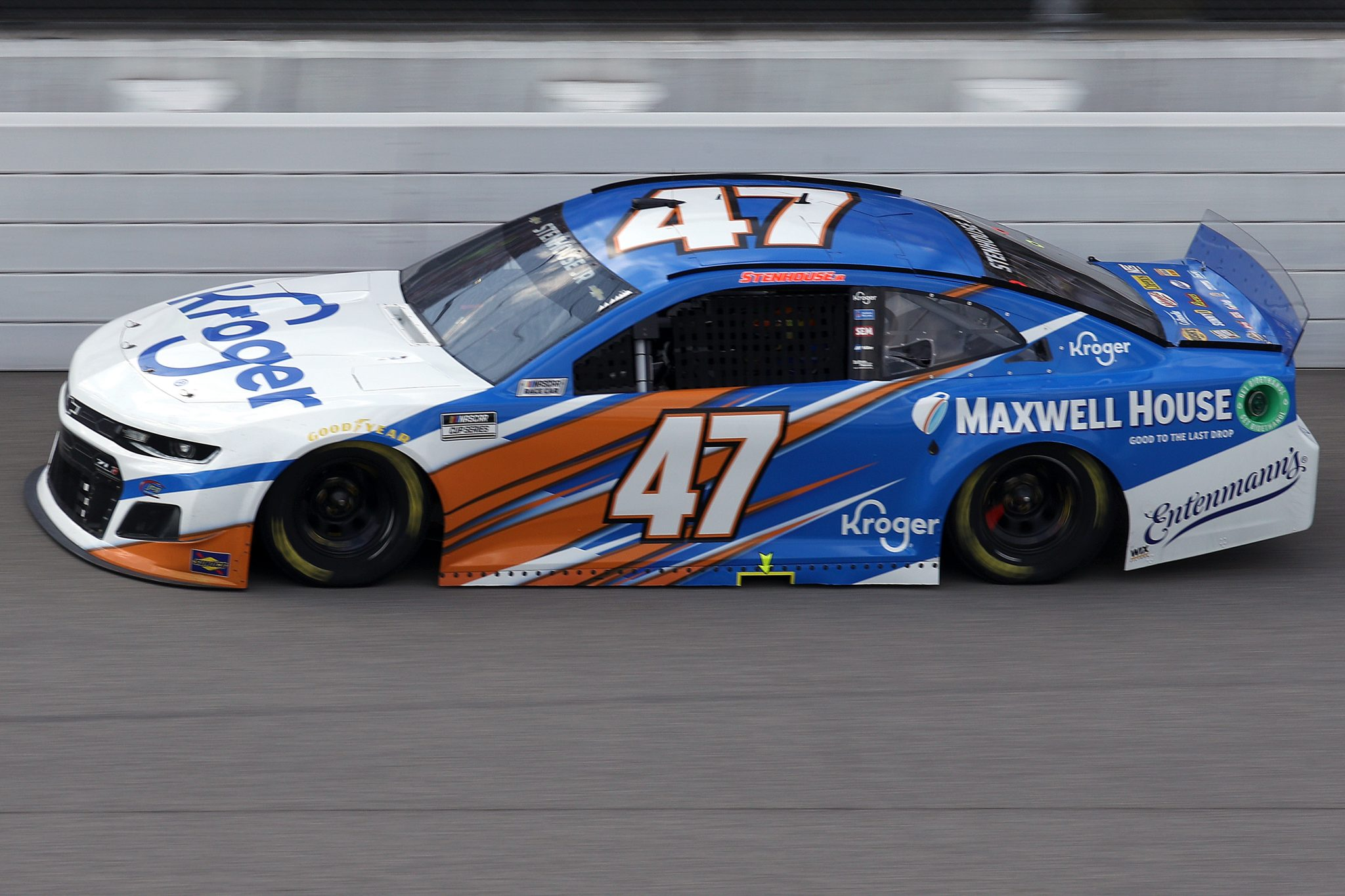 BROOKLYN, MICHIGAN - AUGUST 22: Ricky Stenhouse Jr., driver of the #47 Kroger/Maxwell House Chevrolet, drives during the NASCAR Cup Series FireKeepers Casino 400 at Michigan International Speedway on August 22, 2021 in Brooklyn, Michigan. (Photo by Sean Gardner/Getty Images)   Getty Images