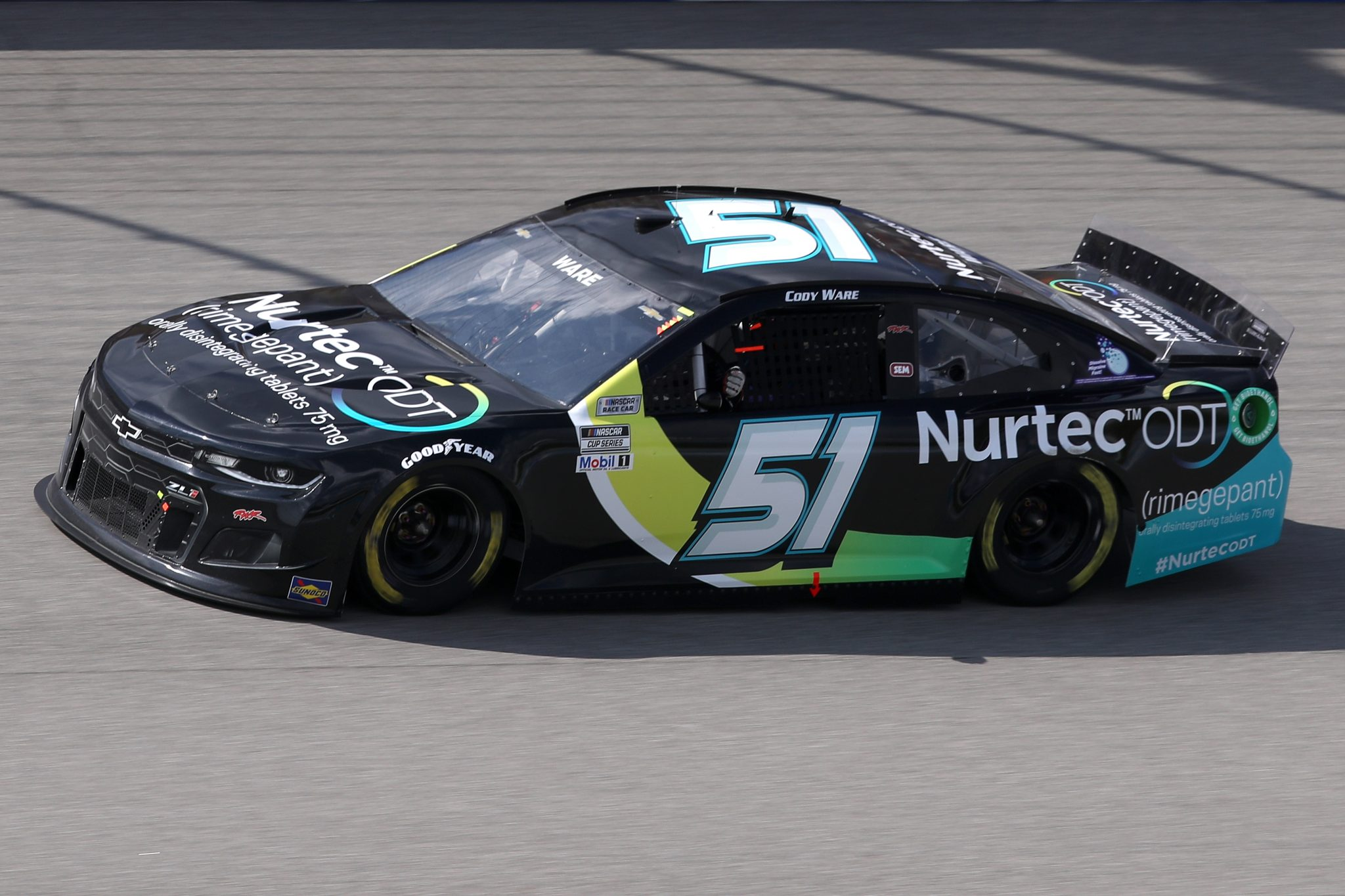 BROOKLYN, MICHIGAN - AUGUST 22: Cody Ware, driver of the #51 Nurtec ODT Chevrolet, drives during the NASCAR Cup Series FireKeepers Casino 400 at Michigan International Speedway on August 22, 2021 in Brooklyn, Michigan. (Photo by Sean Gardner/Getty Images) | Getty Images