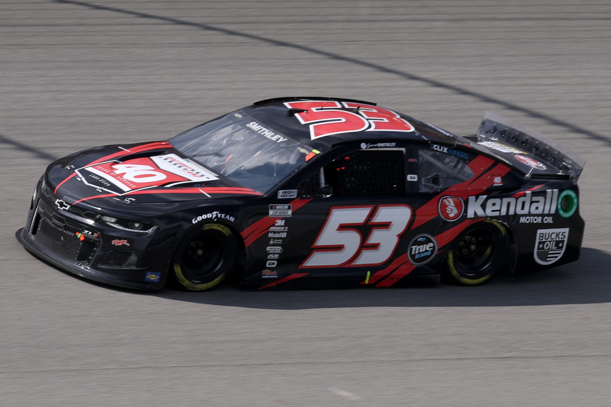 BROOKLYN, MICHIGAN - AUGUST 22: Garrett Smithley, driver of the #53 Kendall Motor Oil Chevrolet, drives during the NASCAR Cup Series FireKeepers Casino 400 at Michigan International Speedway on August 22, 2021 in Brooklyn, Michigan. (Photo by Sean Gardner/Getty Images) | Getty Images