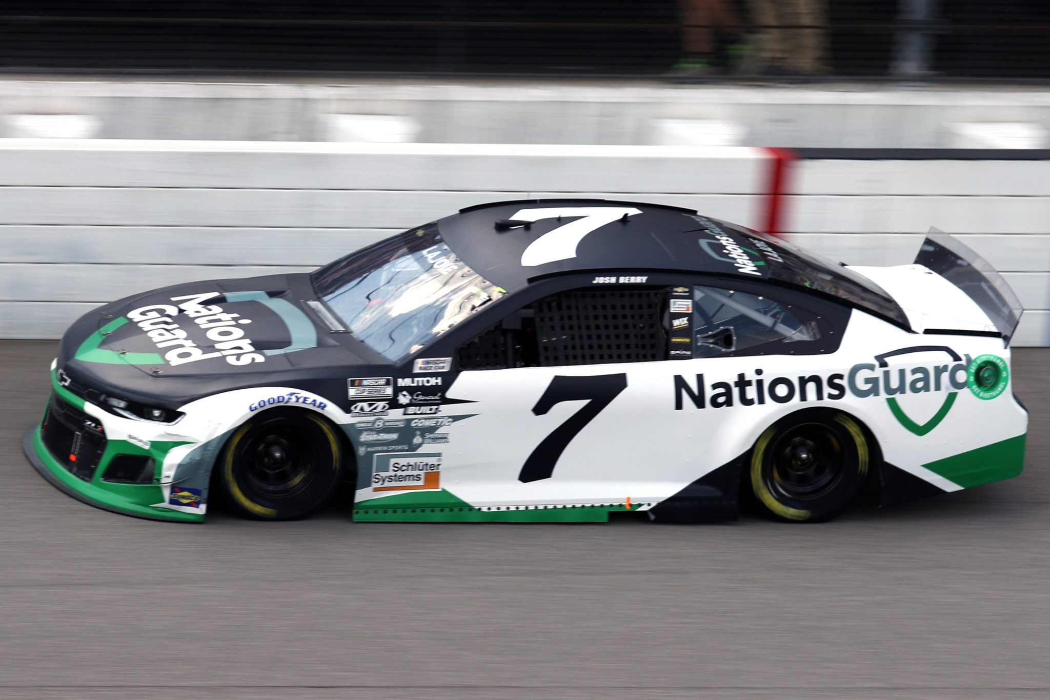 BROOKLYN, MICHIGAN - AUGUST 22: Josh Berry, driver of the #7 Nations Guard Chevrolet, drives during the NASCAR Cup Series FireKeepers Casino 400 at Michigan International Speedway on August 22, 2021 in Brooklyn, Michigan. (Photo by Sean Gardner/Getty Images)   Getty Images
