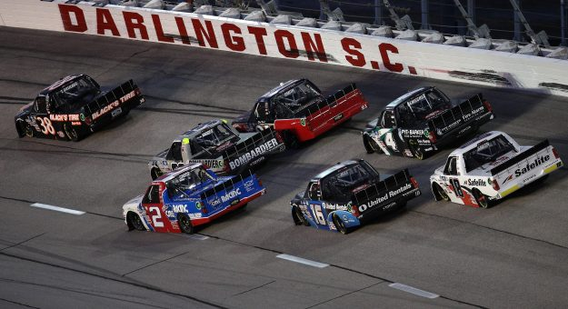DARLINGTON, SOUTH CAROLINA - MAY 07: Todd Gilliland, driver of the #38 Black's Tire Ford, leads the field during the NASCAR Camping World Truck Series LiftKits4Less.com 200 at Darlington Raceway on May 07, 2021 in Darlington, South Carolina. (Photo by Sean Gardner/Getty Images) | Getty Images